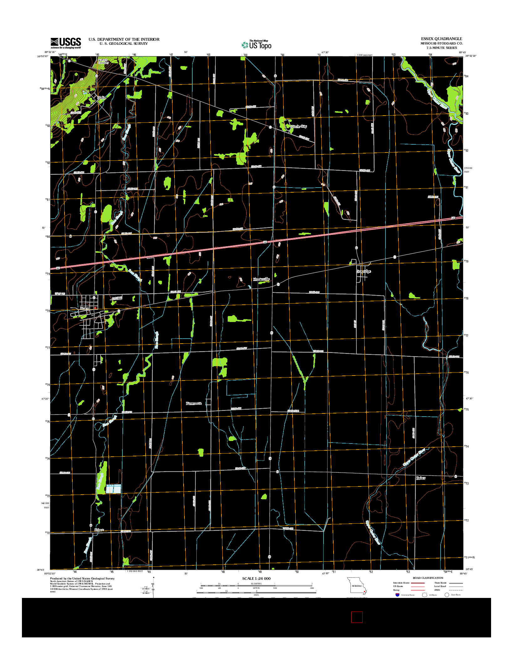 USGS US TOPO 7.5-MINUTE MAP FOR ESSEX, MO 2012