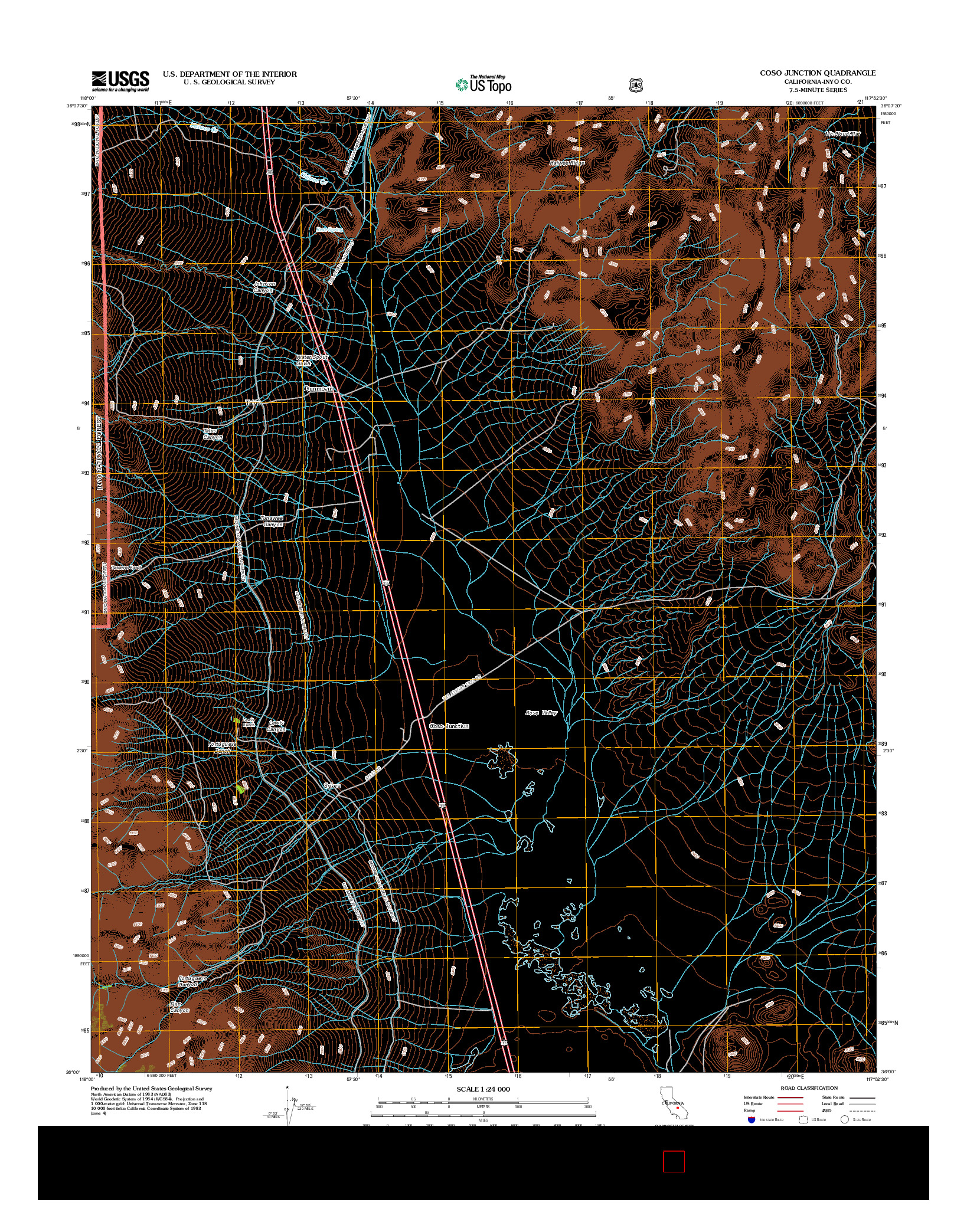 USGS US TOPO 7.5-MINUTE MAP FOR COSO JUNCTION, CA 2012