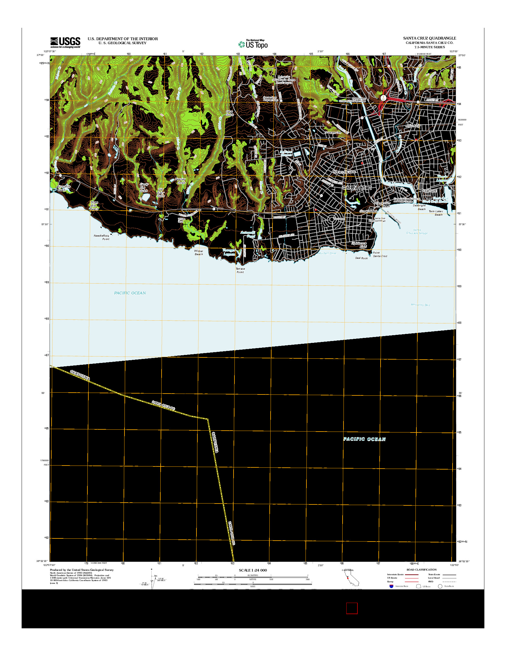 USGS US TOPO 7.5-MINUTE MAP FOR SANTA CRUZ, CA 2012