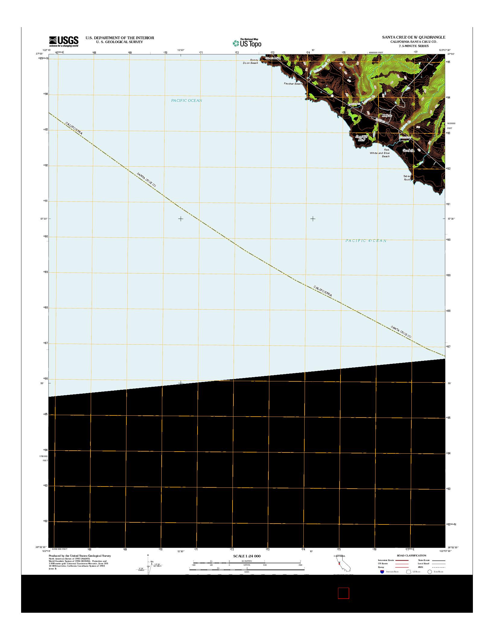 USGS US TOPO 7.5-MINUTE MAP FOR SANTA CRUZ OE W, CA 2012