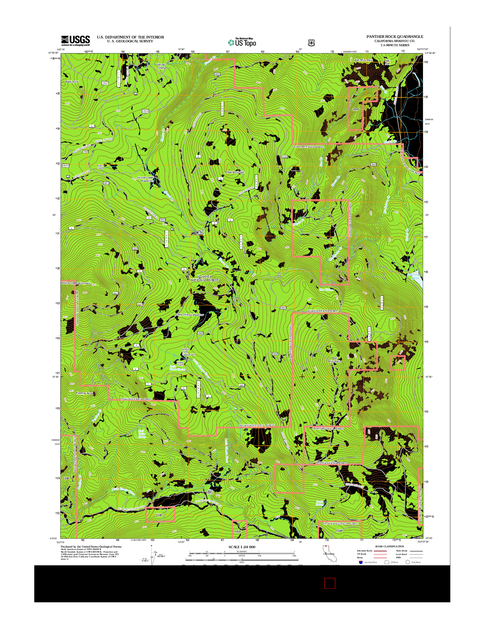 USGS US TOPO 7.5-MINUTE MAP FOR PANTHER ROCK, CA 2012