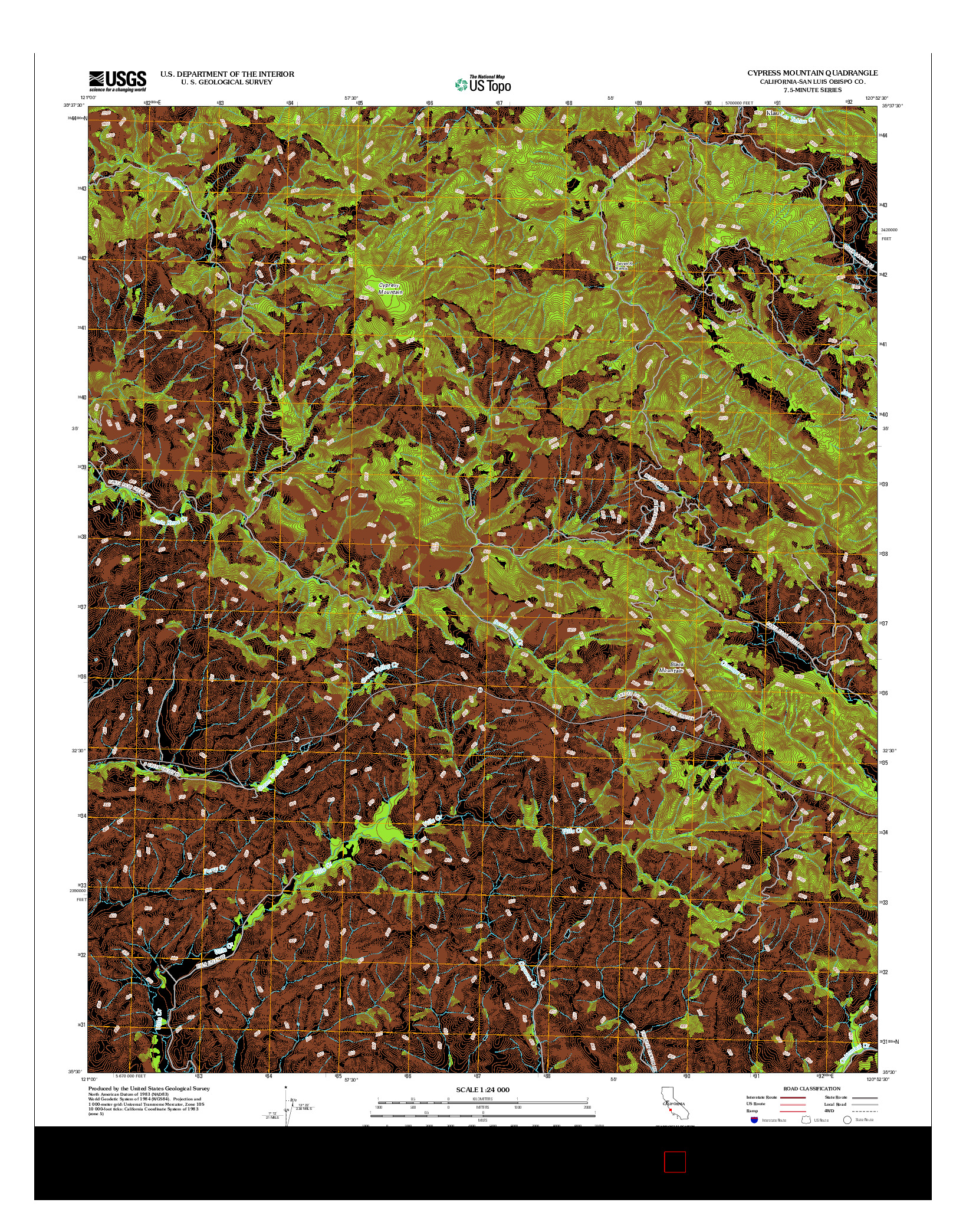 USGS US TOPO 7.5-MINUTE MAP FOR CYPRESS MOUNTAIN, CA 2012