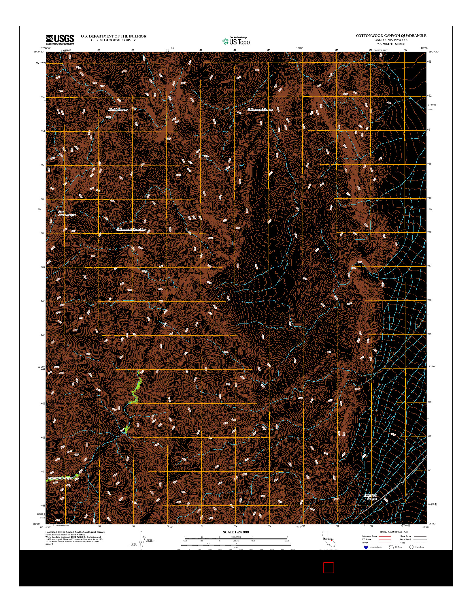 USGS US TOPO 7.5-MINUTE MAP FOR COTTONWOOD CANYON, CA 2012