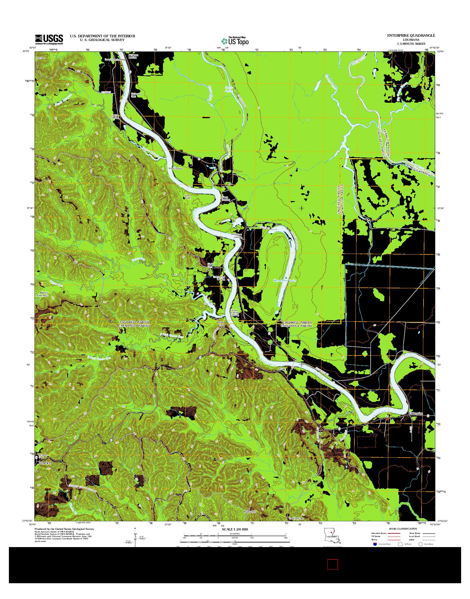 USGS US TOPO 7.5-MINUTE MAP FOR ENTERPRISE, LA 2012