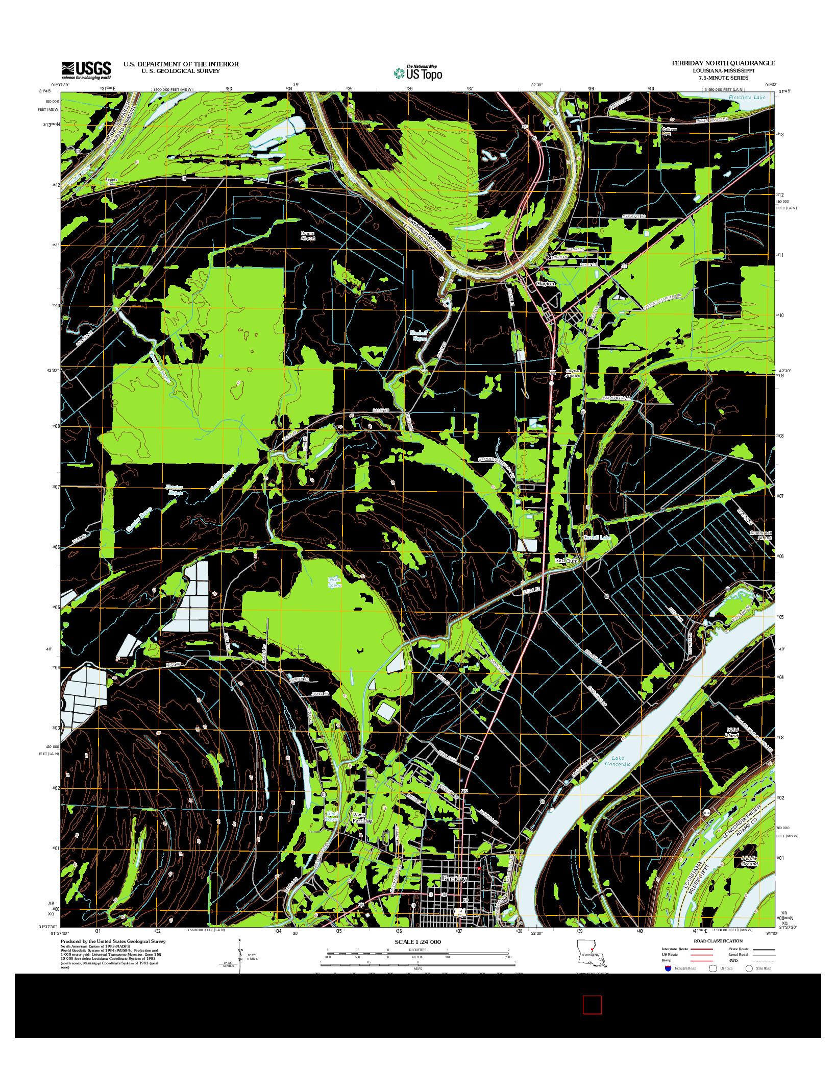 USGS US TOPO 7.5-MINUTE MAP FOR FERRIDAY NORTH, LA-MS 2012