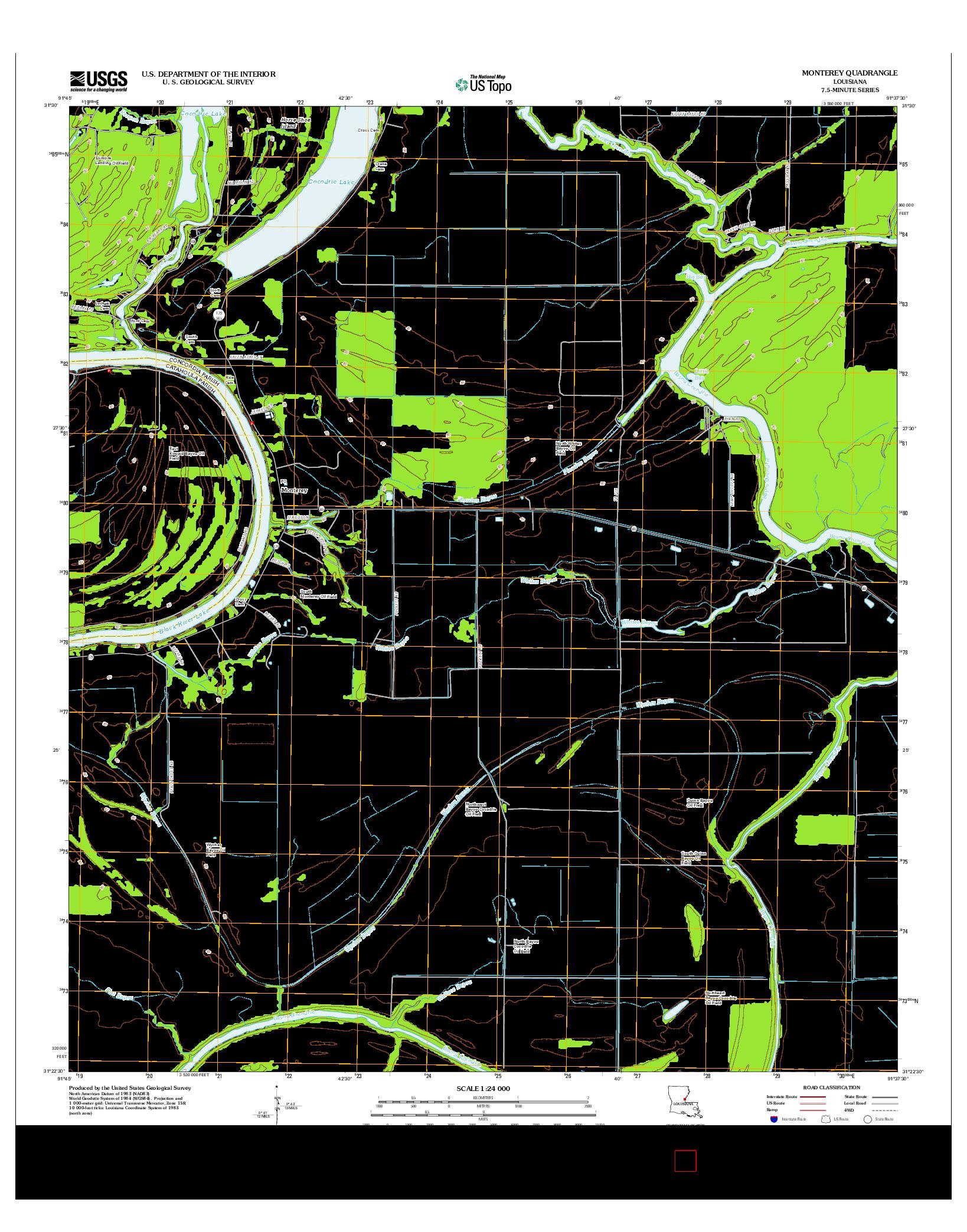USGS US TOPO 7.5-MINUTE MAP FOR MONTEREY, LA 2012