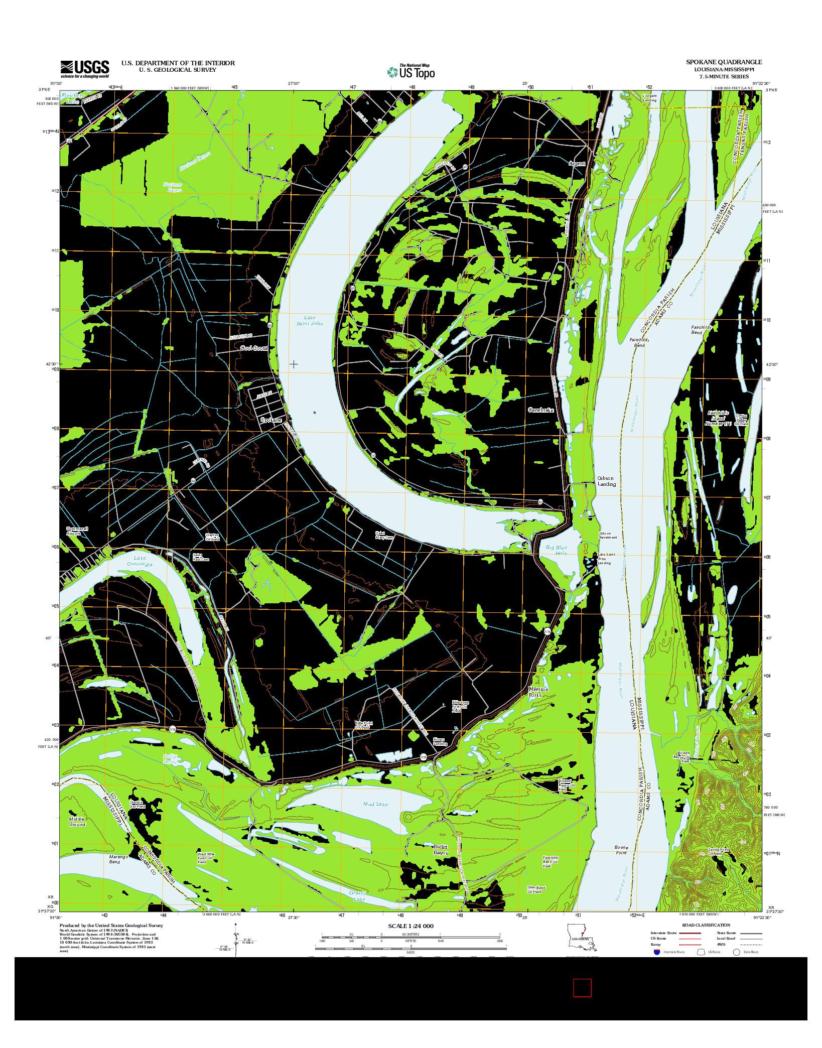 USGS US TOPO 7.5-MINUTE MAP FOR SPOKANE, LA-MS 2012