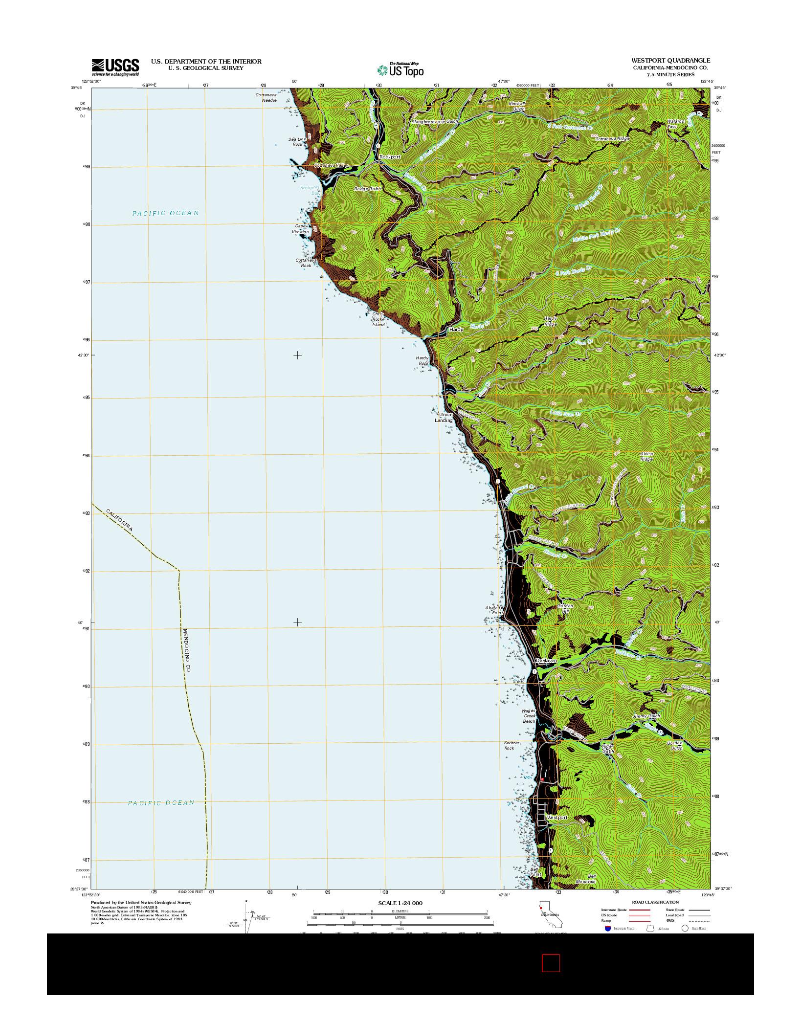 USGS US TOPO 7.5-MINUTE MAP FOR WESTPORT, CA 2012
