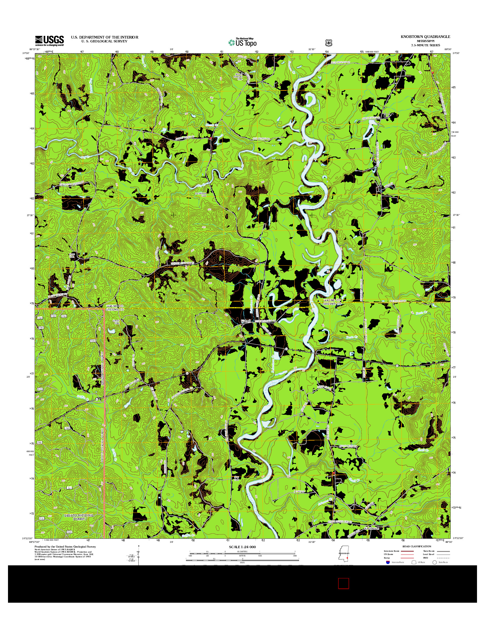 USGS US TOPO 7.5-MINUTE MAP FOR KNOBTOWN, MS 2012