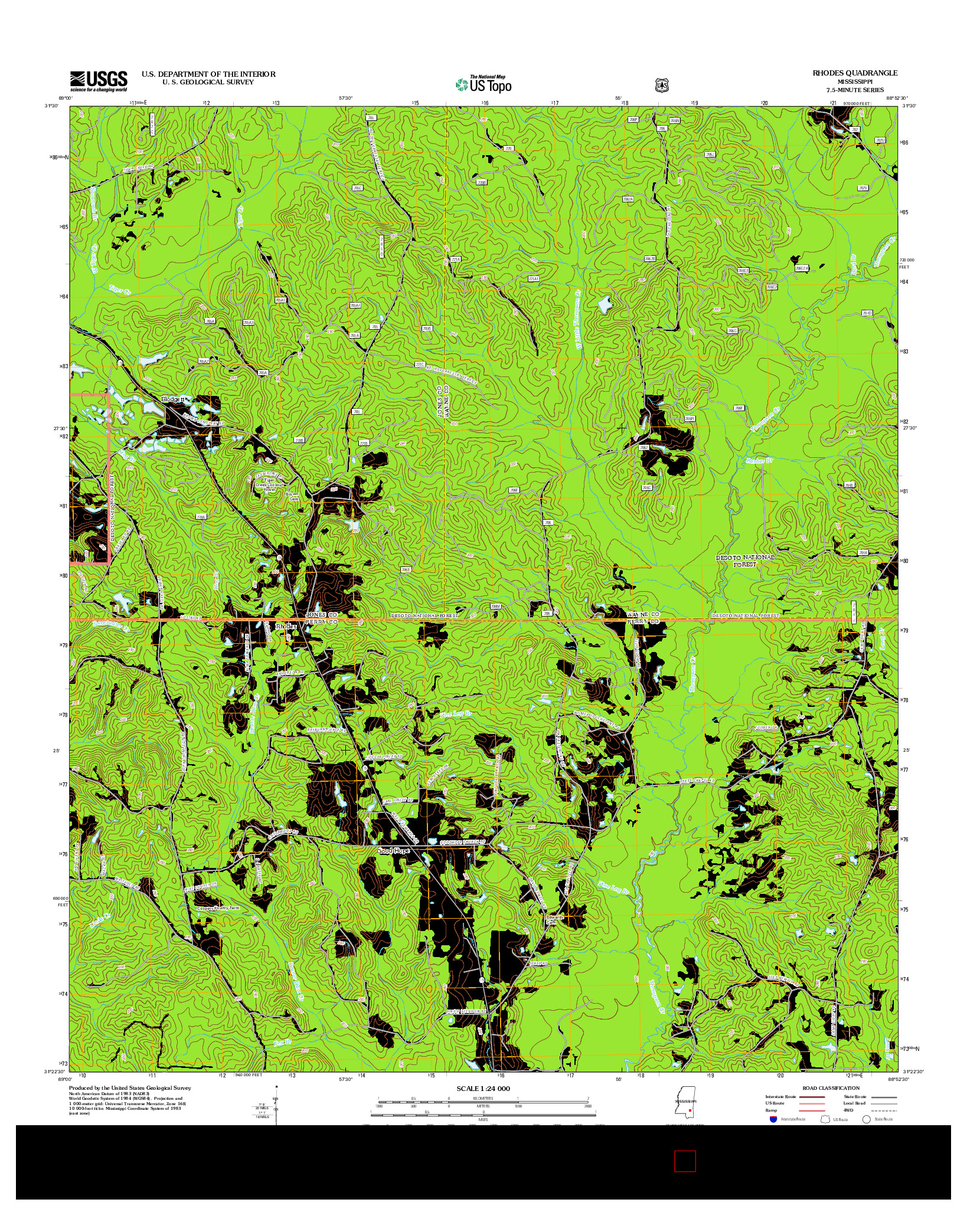 USGS US TOPO 7.5-MINUTE MAP FOR RHODES, MS 2012