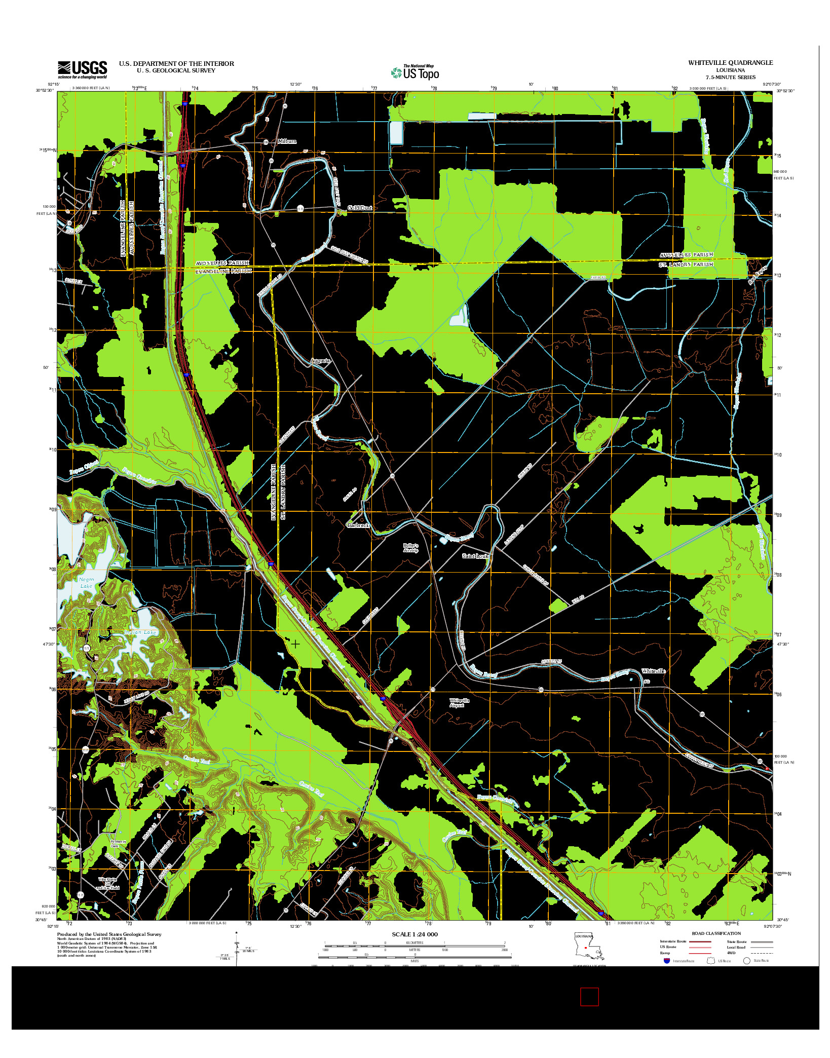 USGS US TOPO 7.5-MINUTE MAP FOR WHITEVILLE, LA 2012