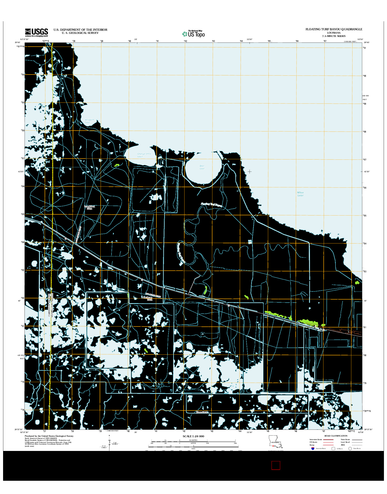 USGS US TOPO 7.5-MINUTE MAP FOR FLOATING TURF BAYOU, LA 2012