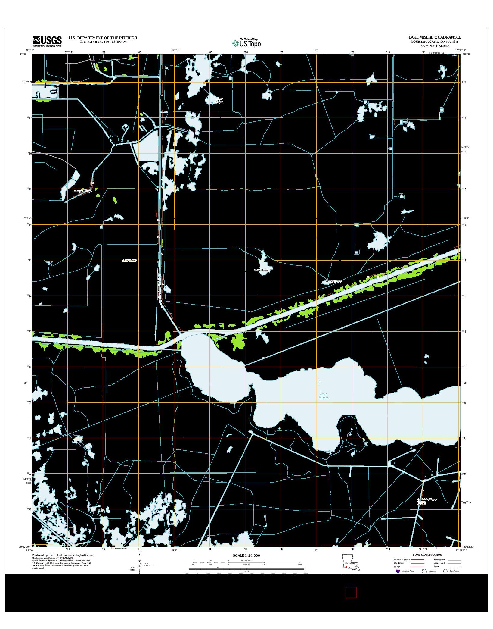 USGS US TOPO 7.5-MINUTE MAP FOR LAKE MISERE, LA 2012