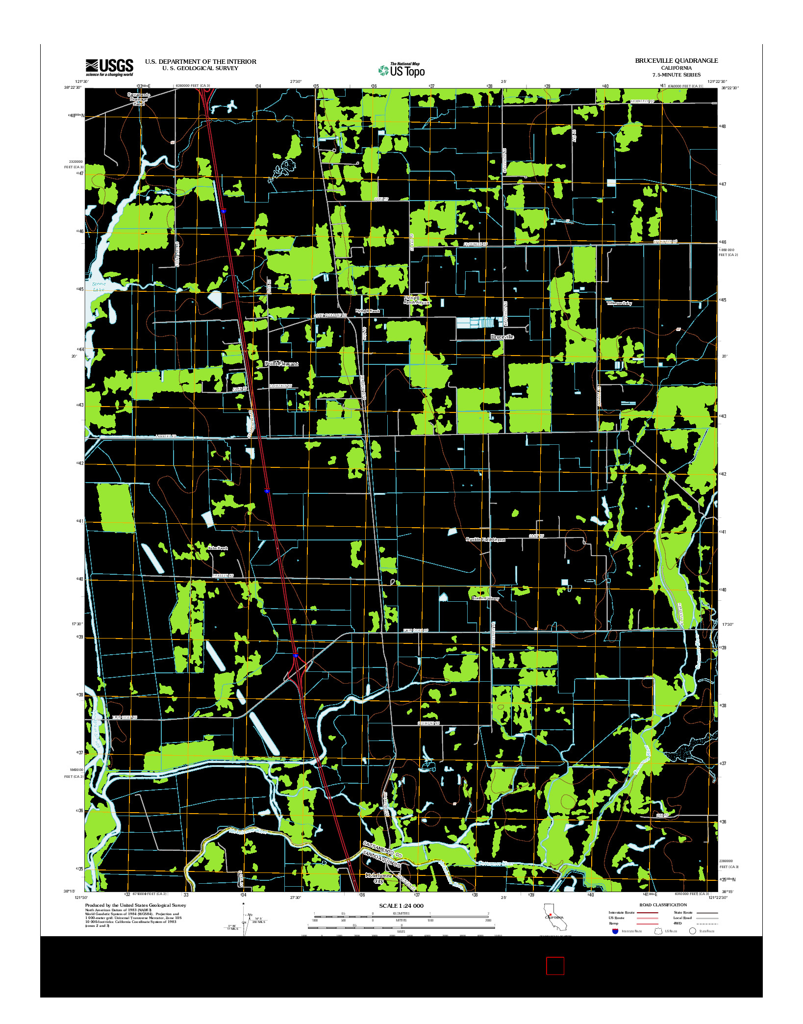 USGS US TOPO 7.5-MINUTE MAP FOR BRUCEVILLE, CA 2012