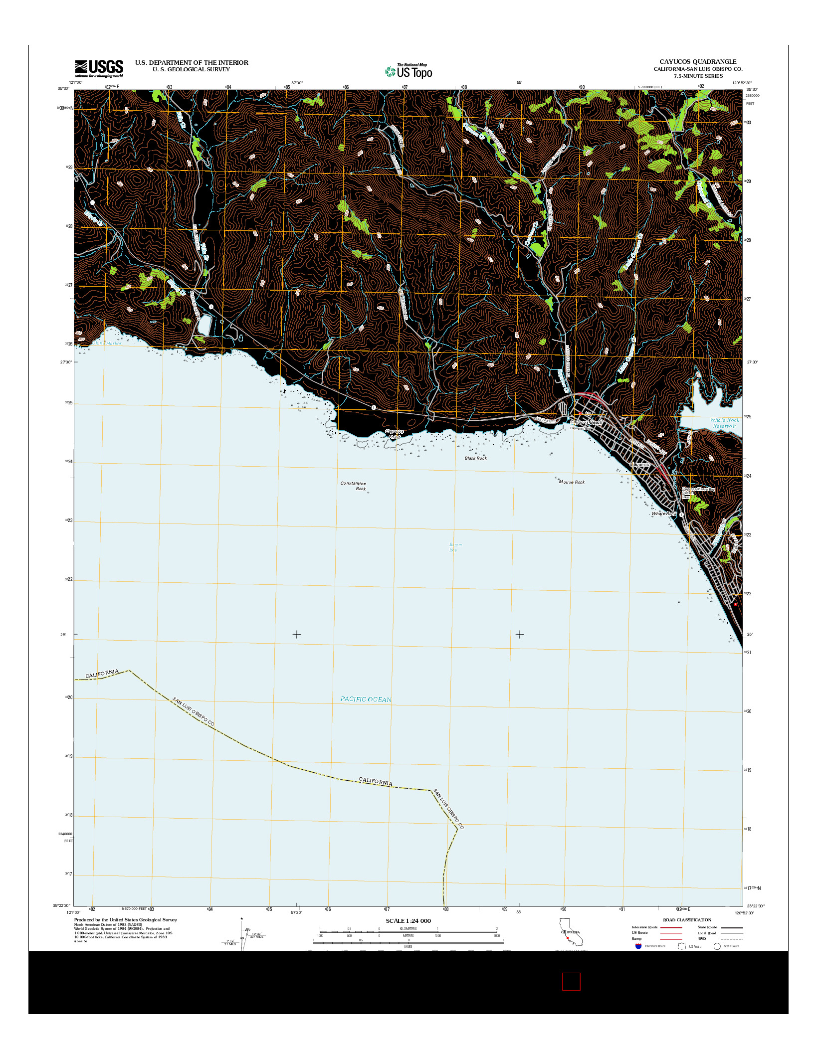 USGS US TOPO 7.5-MINUTE MAP FOR CAYUCOS, CA 2012