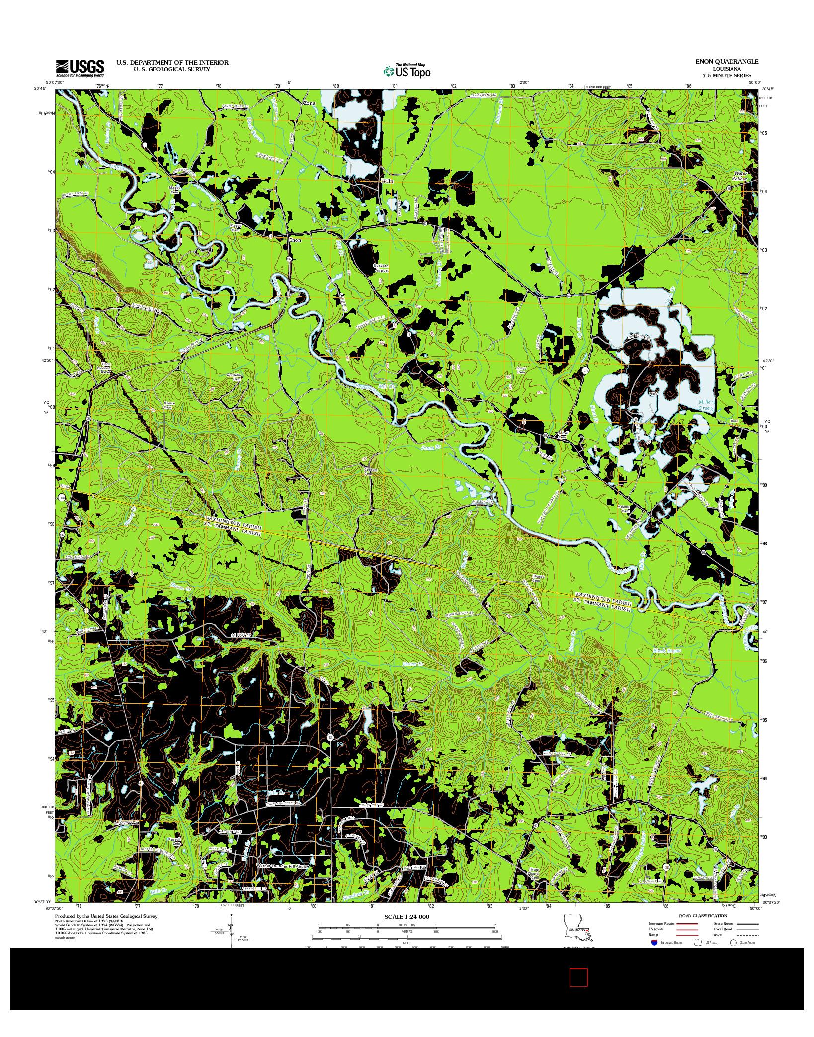 USGS US TOPO 7.5-MINUTE MAP FOR ENON, LA 2012