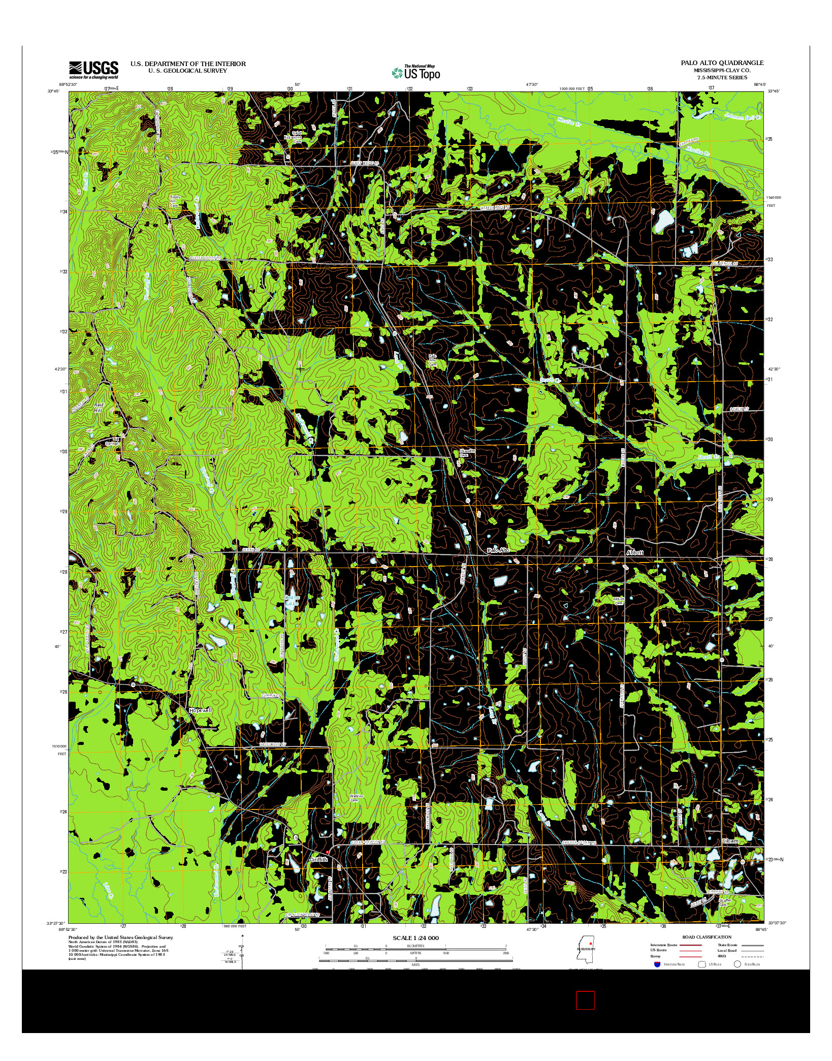 USGS US TOPO 7.5-MINUTE MAP FOR PALO ALTO, MS 2012