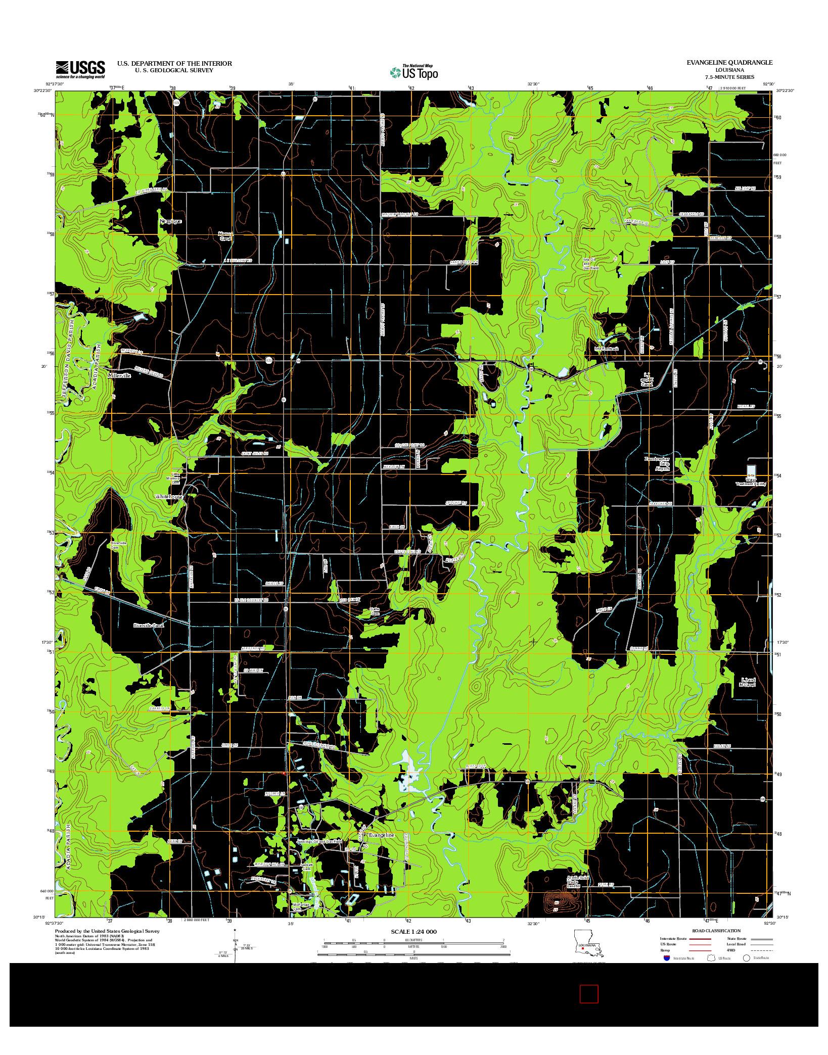 USGS US TOPO 7.5-MINUTE MAP FOR EVANGELINE, LA 2012