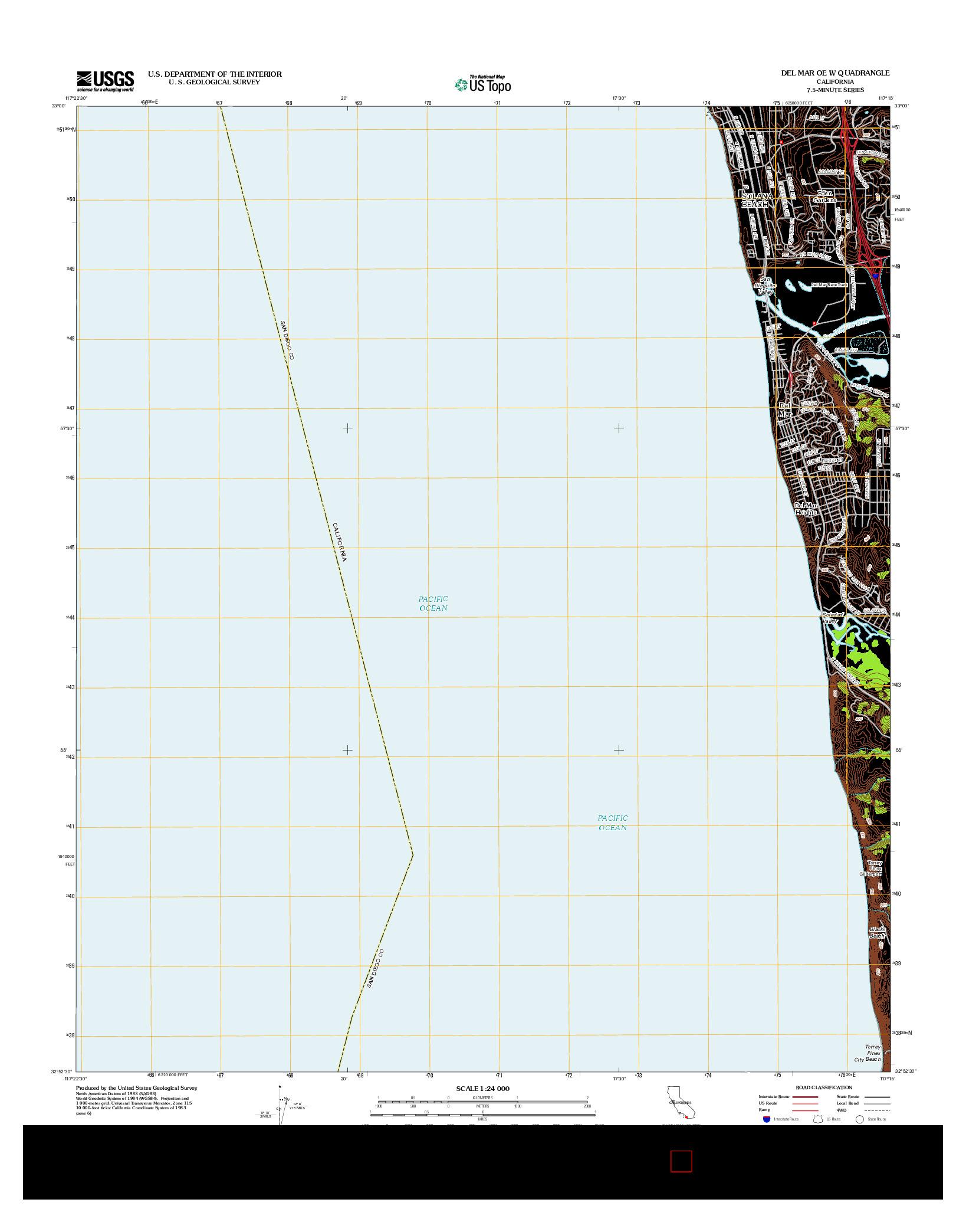 USGS US TOPO 7.5-MINUTE MAP FOR DEL MAR OE W, CA 2012