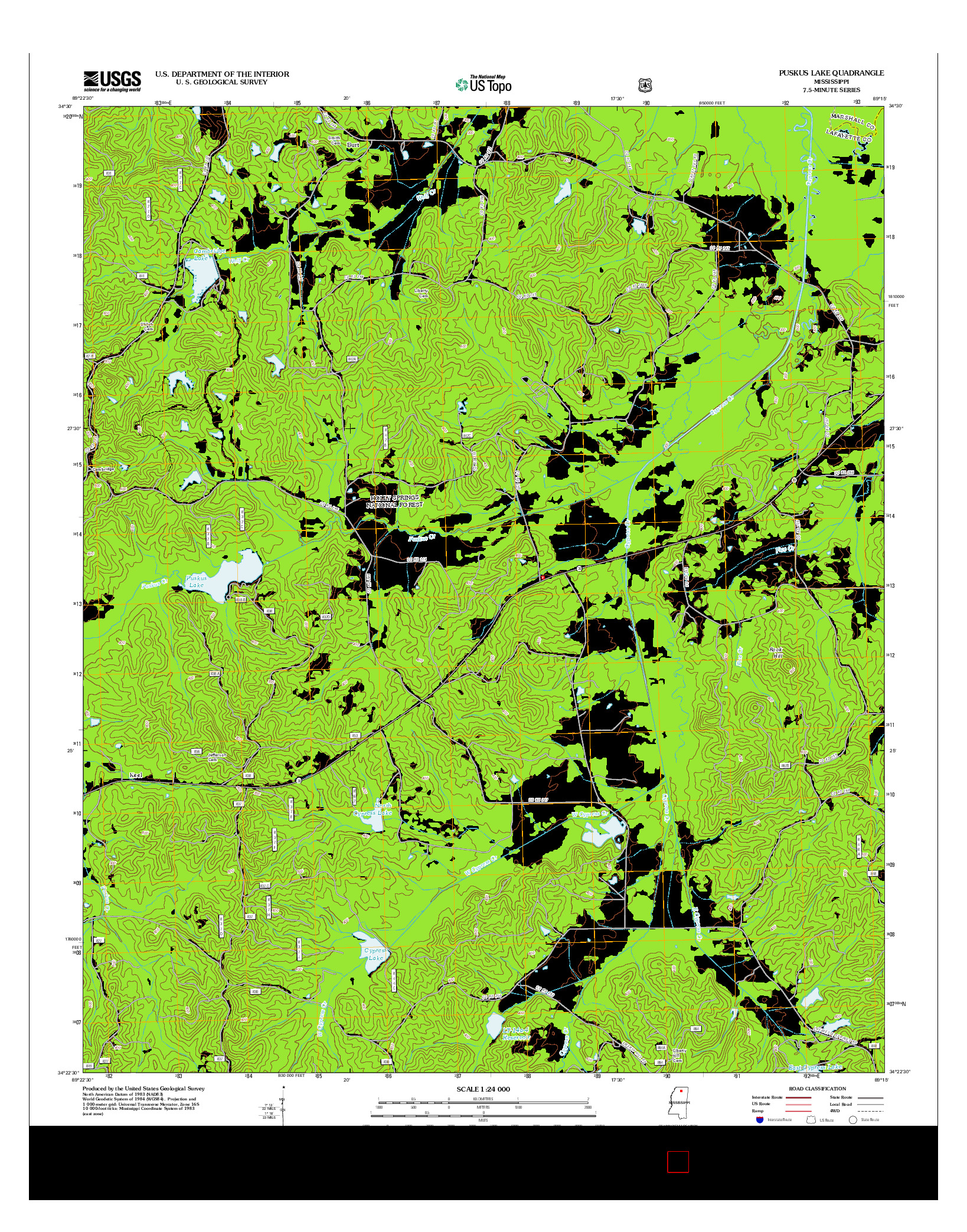 USGS US TOPO 7.5-MINUTE MAP FOR PUSKUS LAKE, MS 2012