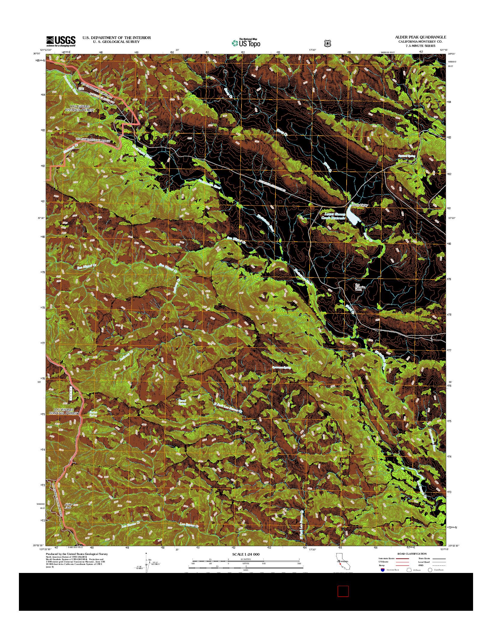 USGS US TOPO 7.5-MINUTE MAP FOR ALDER PEAK, CA 2012