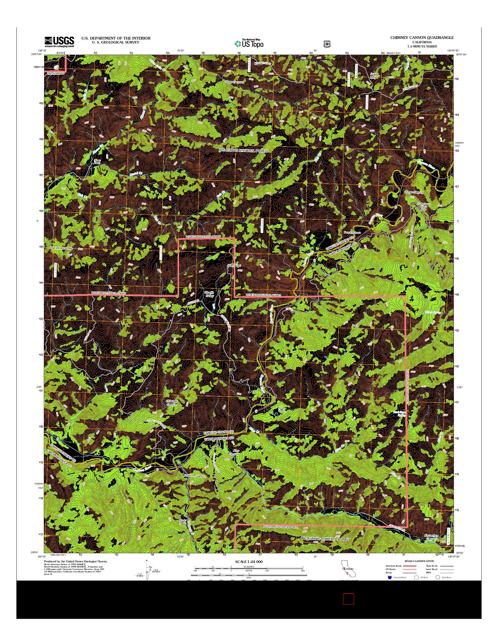 USGS US TOPO 7.5-MINUTE MAP FOR CHIMNEY CANYON, CA 2012