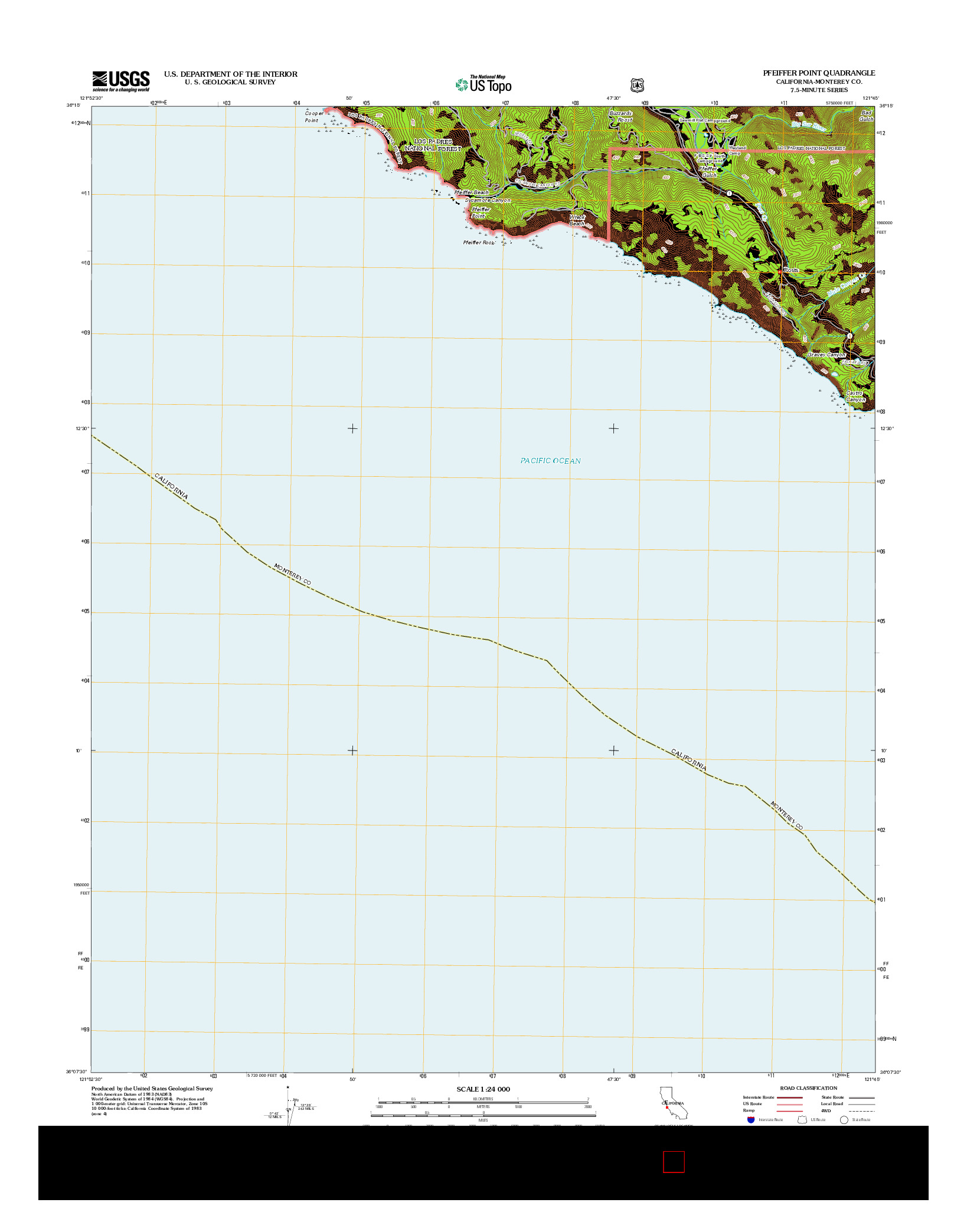 USGS US TOPO 7.5-MINUTE MAP FOR PFEIFFER POINT, CA 2012