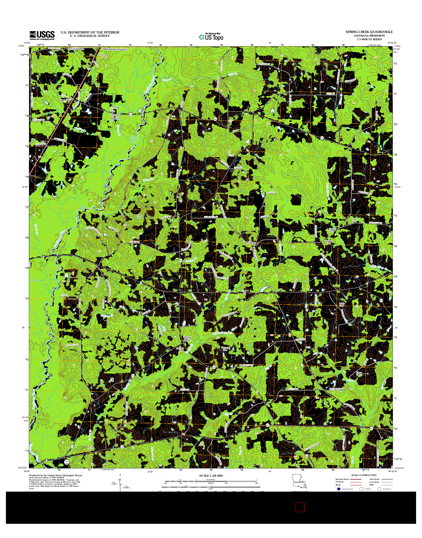 USGS US TOPO 7.5-MINUTE MAP FOR SPRING CREEK, LA-MS 2012