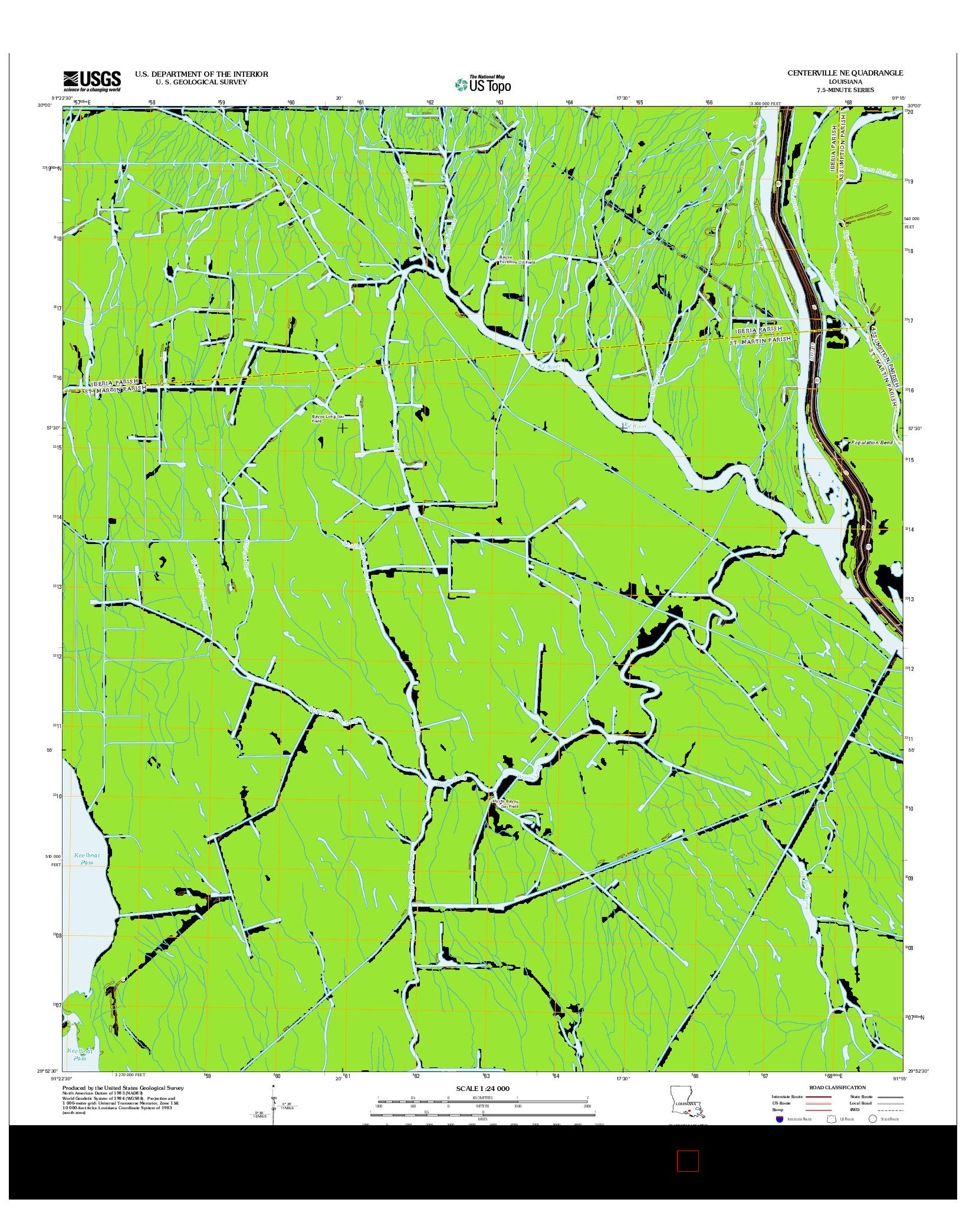 USGS US TOPO 7.5-MINUTE MAP FOR CENTERVILLE NE, LA 2012
