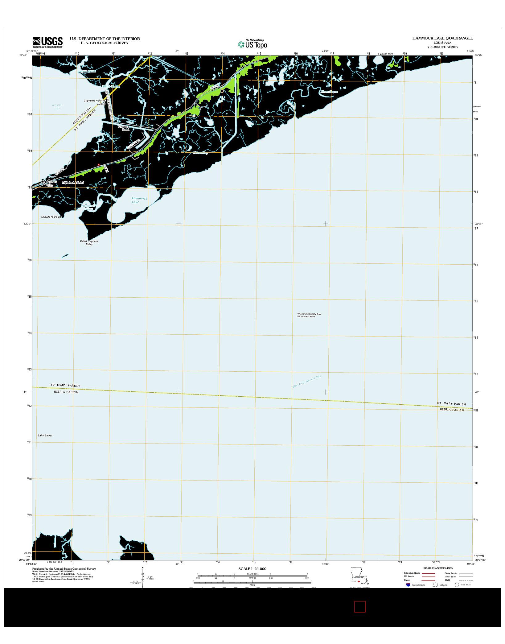 USGS US TOPO 7.5-MINUTE MAP FOR HAMMOCK LAKE, LA 2012