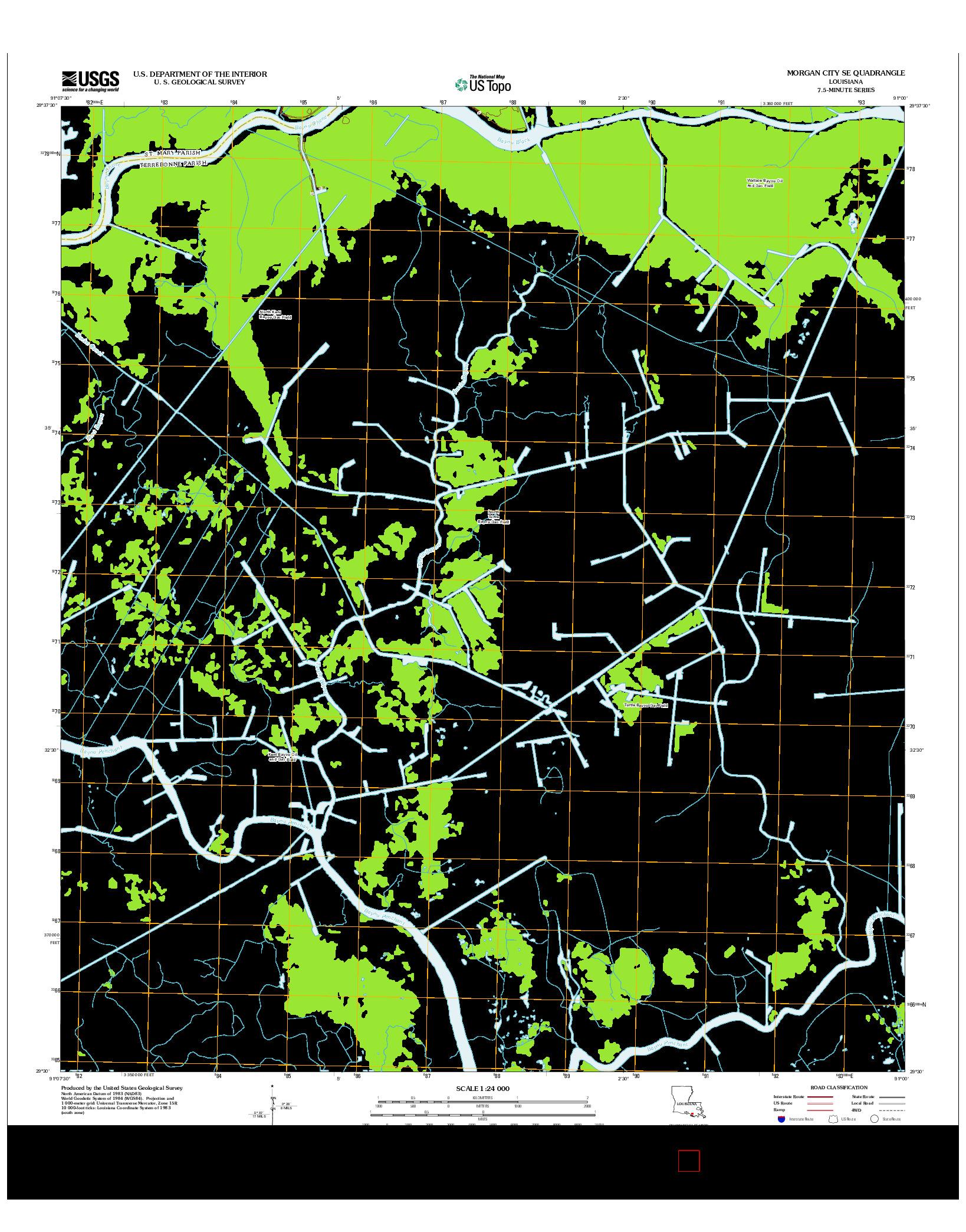 USGS US TOPO 7.5-MINUTE MAP FOR MORGAN CITY SE, LA 2012