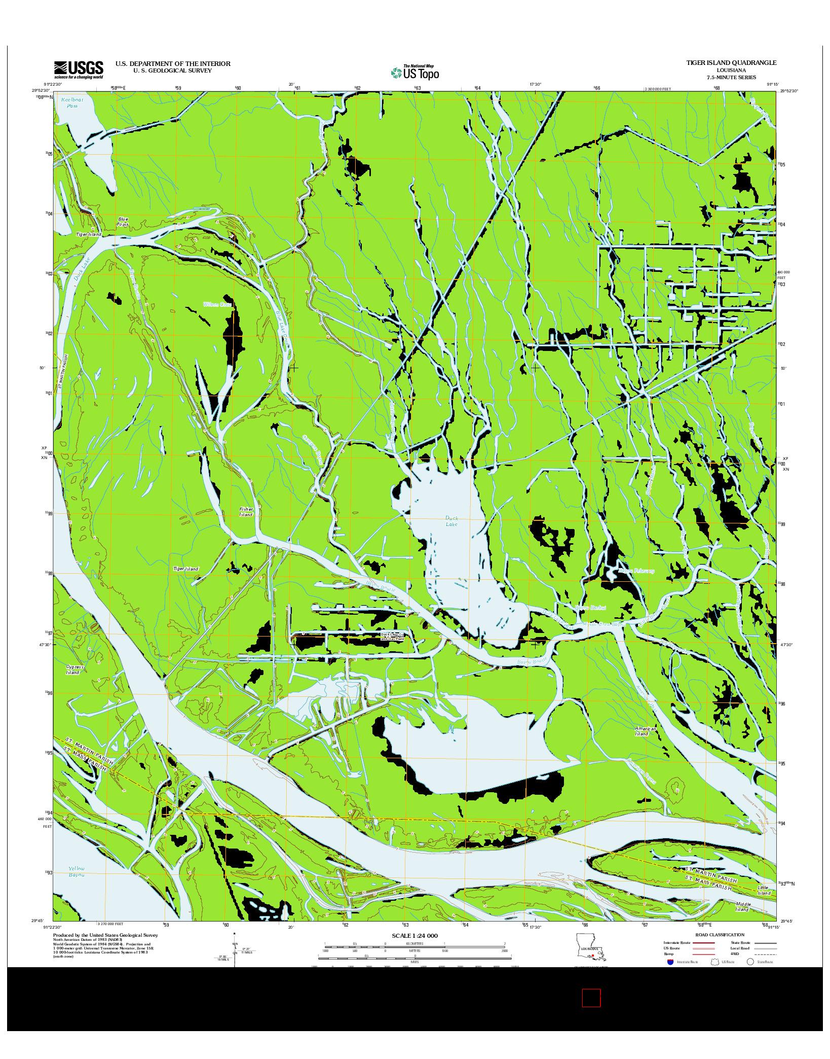 USGS US TOPO 7.5-MINUTE MAP FOR TIGER ISLAND, LA 2012