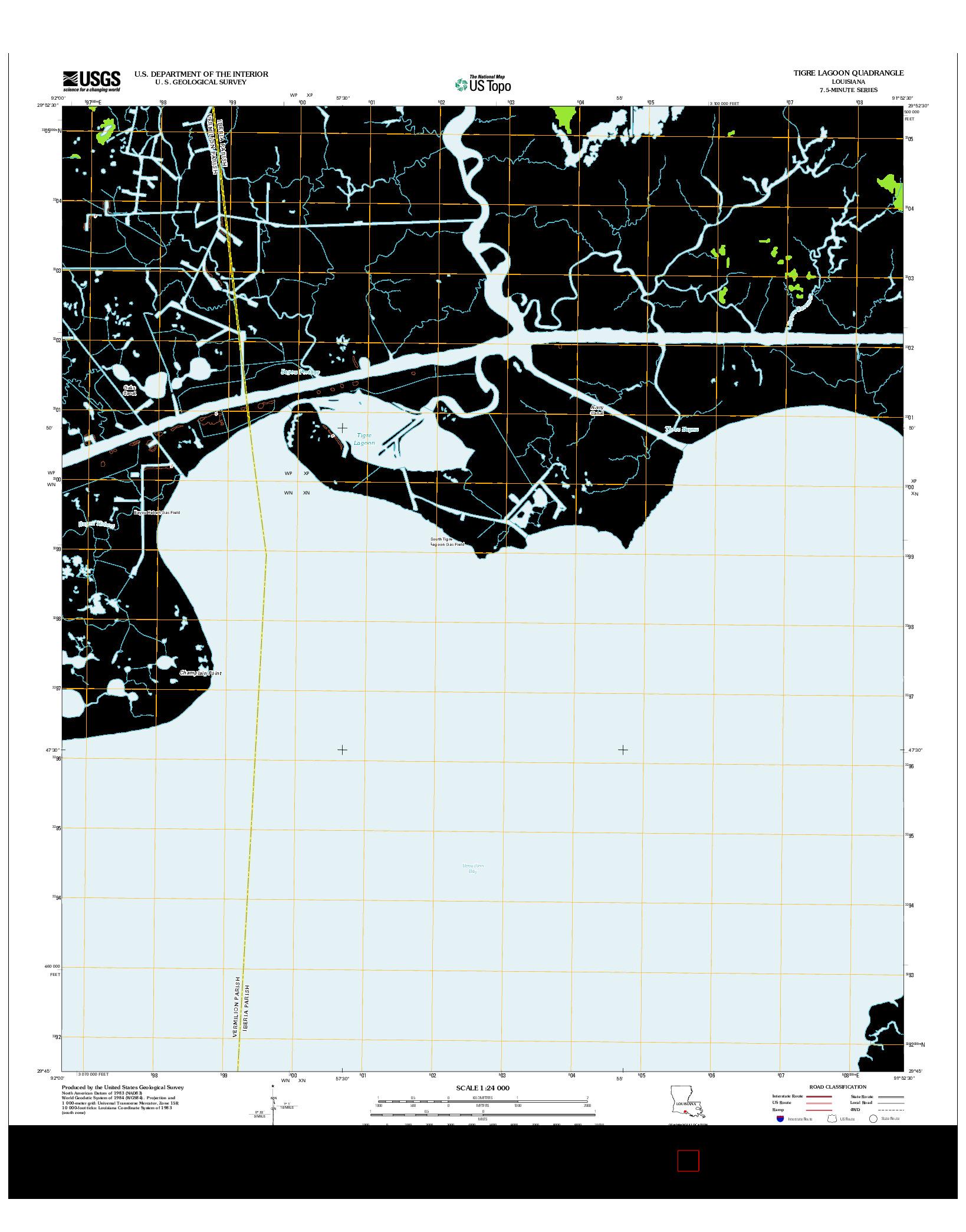 USGS US TOPO 7.5-MINUTE MAP FOR TIGRE LAGOON, LA 2012