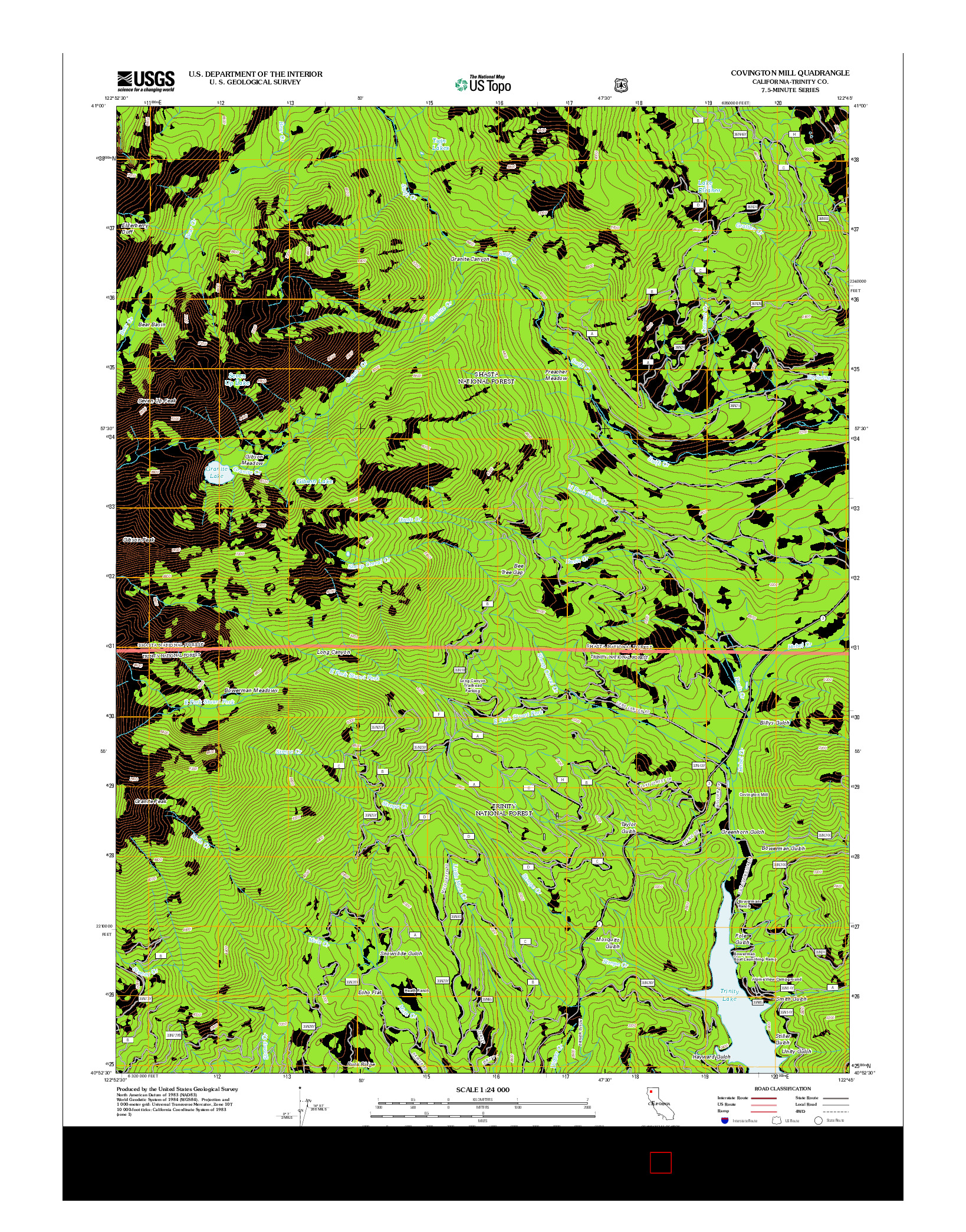 USGS US TOPO 7.5-MINUTE MAP FOR COVINGTON MILL, CA 2012