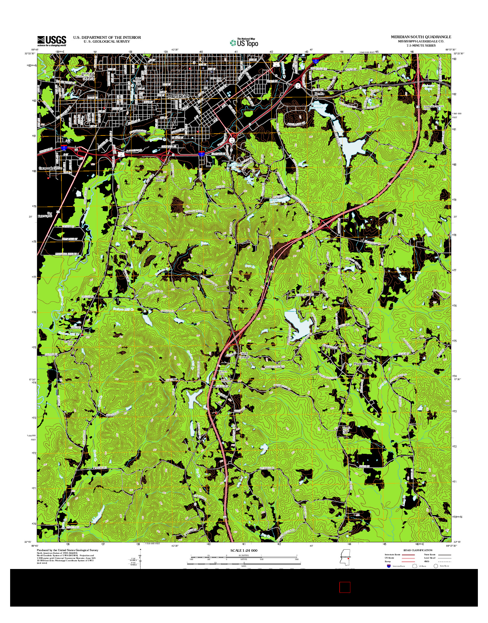 USGS US TOPO 7.5-MINUTE MAP FOR MERIDIAN SOUTH, MS 2012