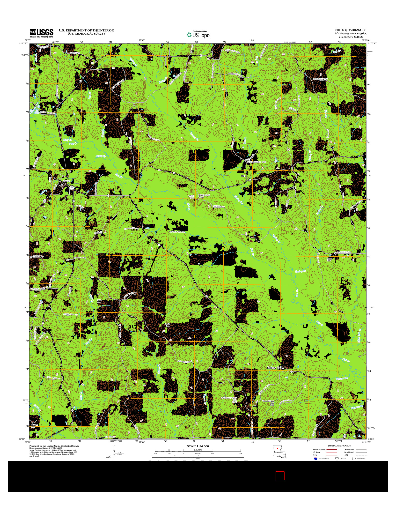 USGS US TOPO 7.5-MINUTE MAP FOR SIKES, LA 2012