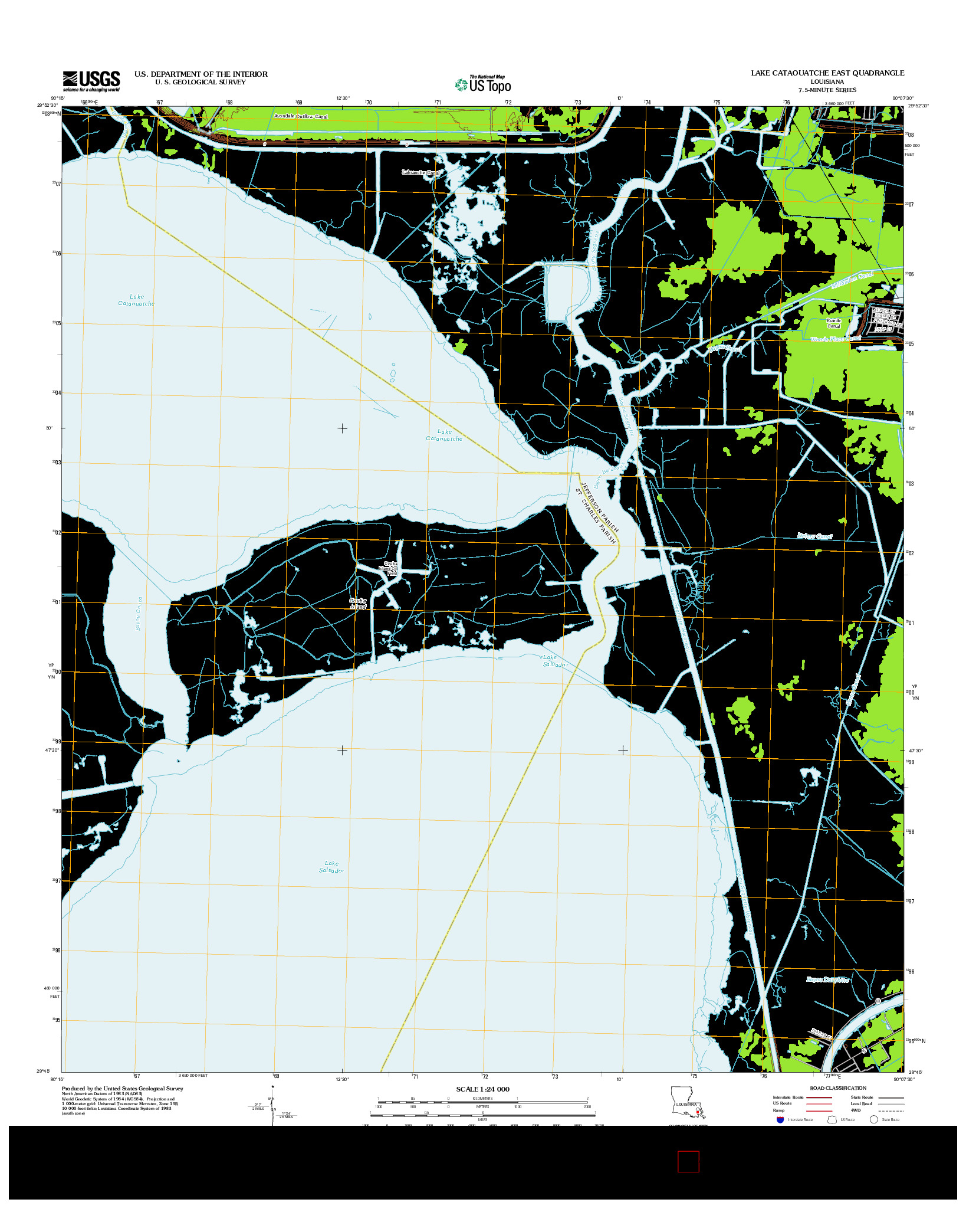 USGS US TOPO 7.5-MINUTE MAP FOR LAKE CATAOUATCHE EAST, LA 2012