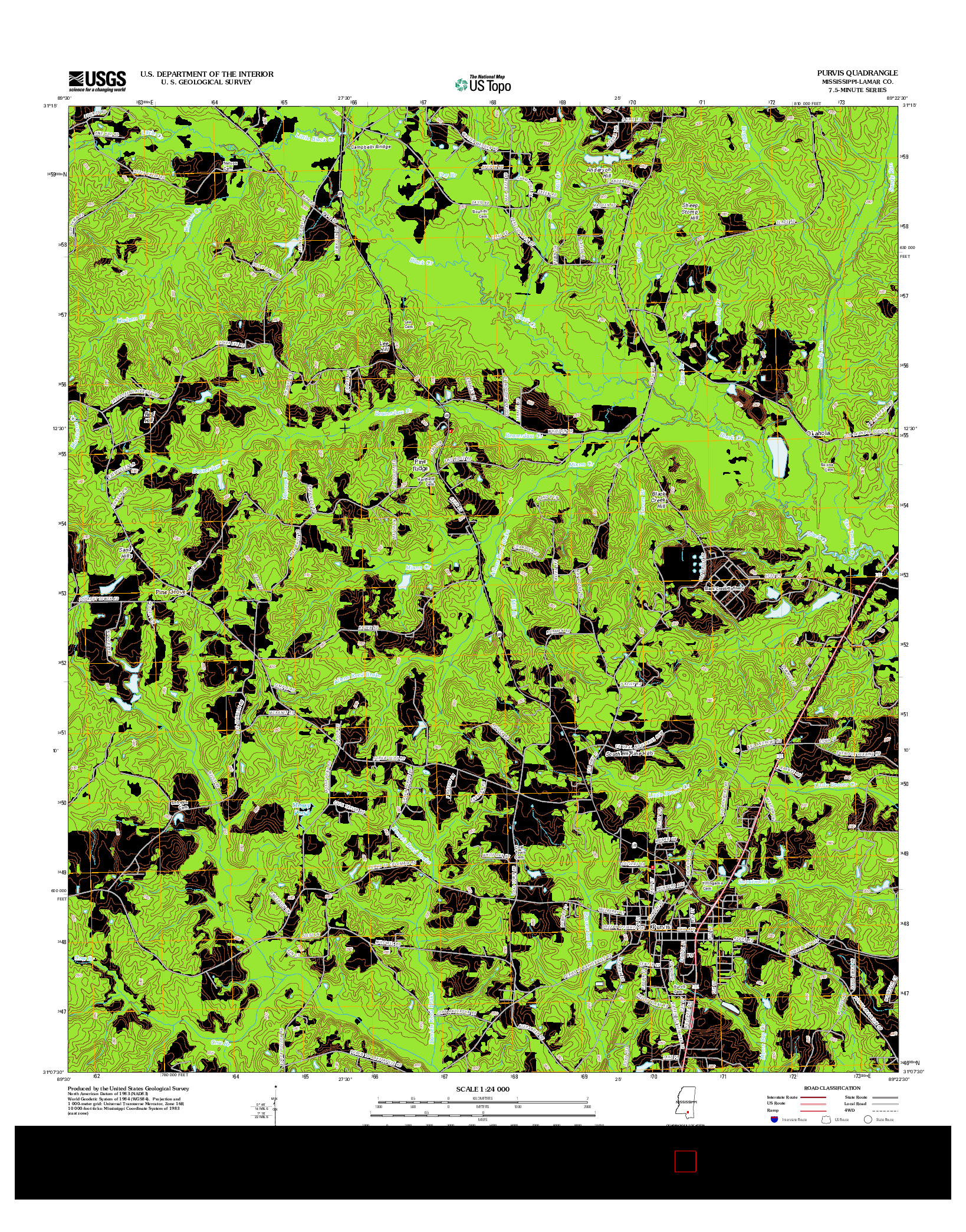 USGS US TOPO 7.5-MINUTE MAP FOR PURVIS, MS 2012