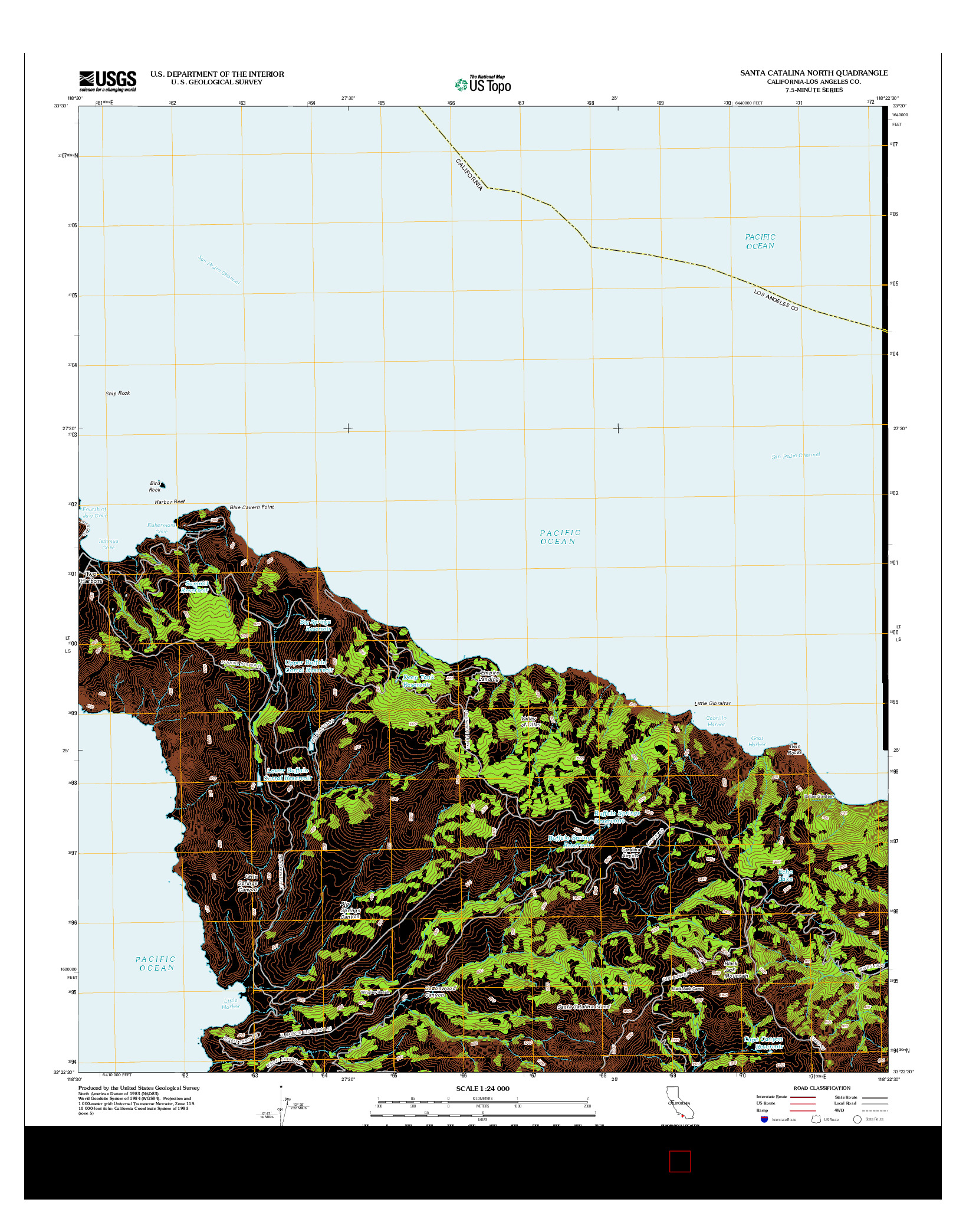 USGS US TOPO 7.5-MINUTE MAP FOR SANTA CATALINA NORTH, CA 2012