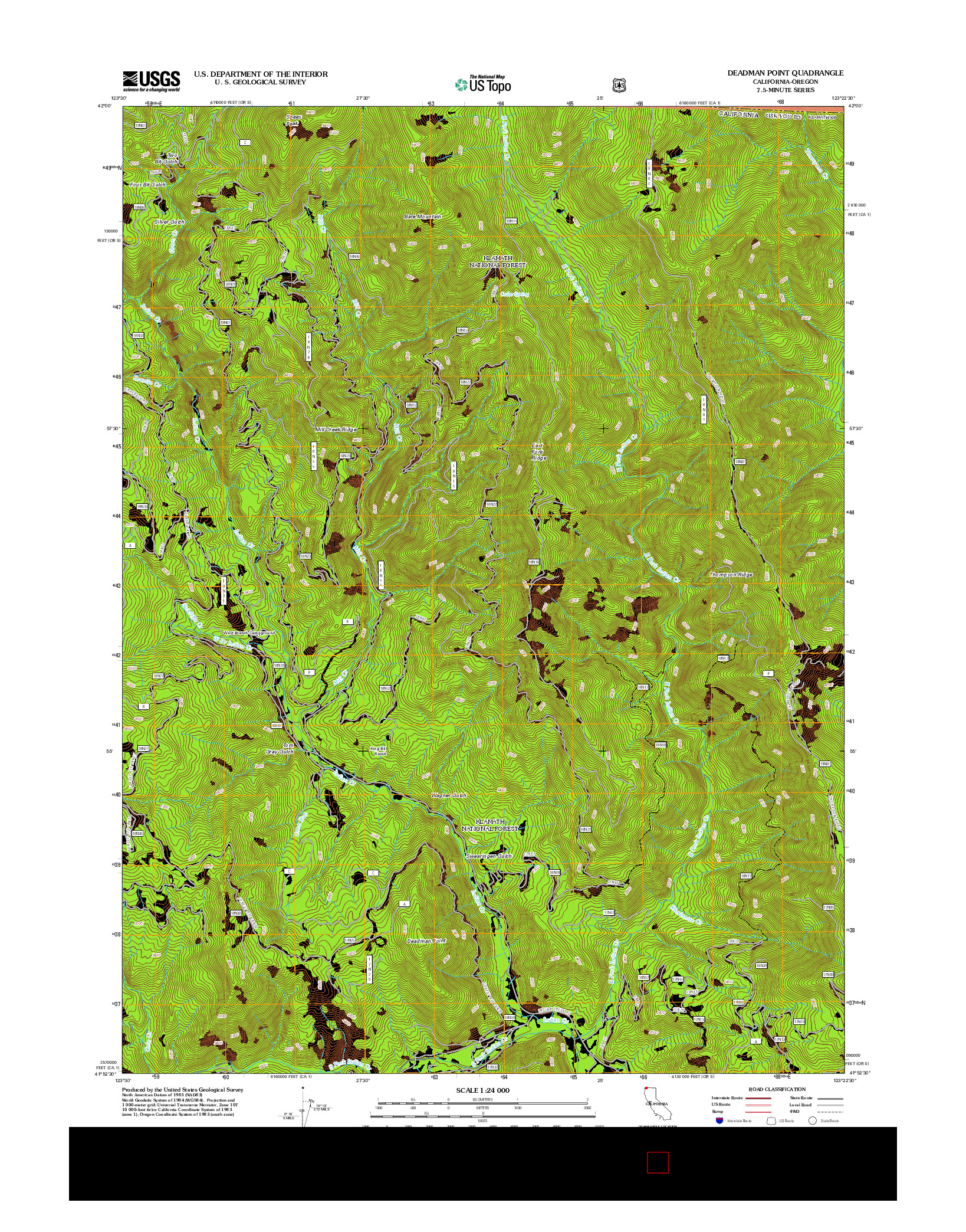 USGS US TOPO 7.5-MINUTE MAP FOR DEADMAN POINT, CA-OR 2012