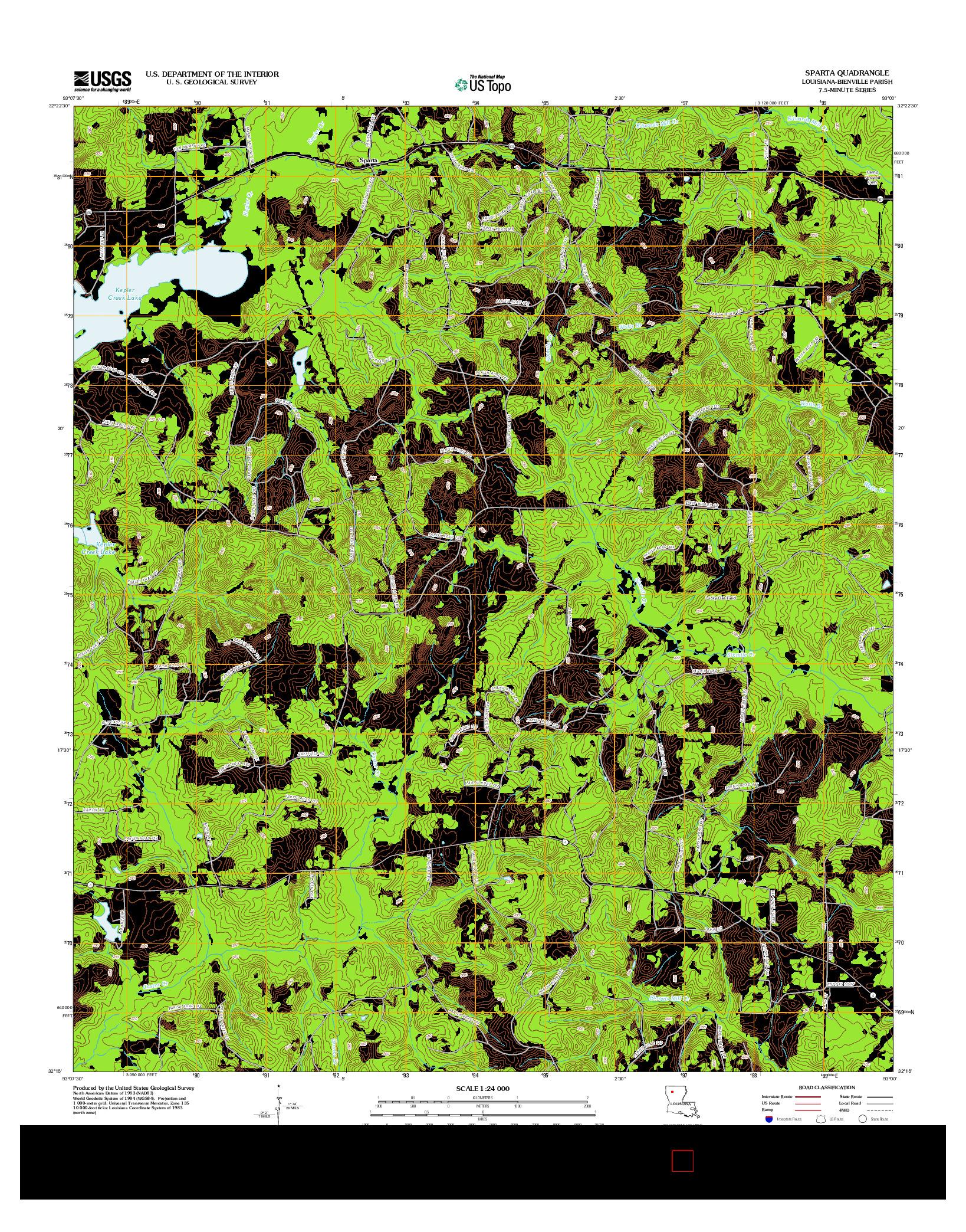 USGS US TOPO 7.5-MINUTE MAP FOR SPARTA, LA 2012
