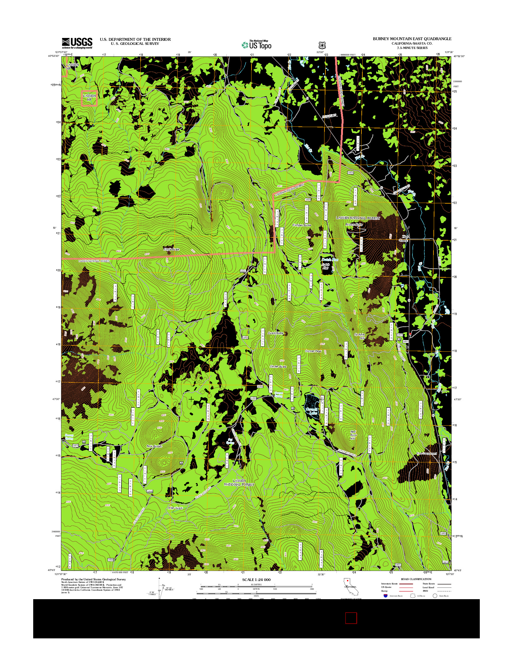 USGS US TOPO 7.5-MINUTE MAP FOR BURNEY MOUNTAIN EAST, CA 2012