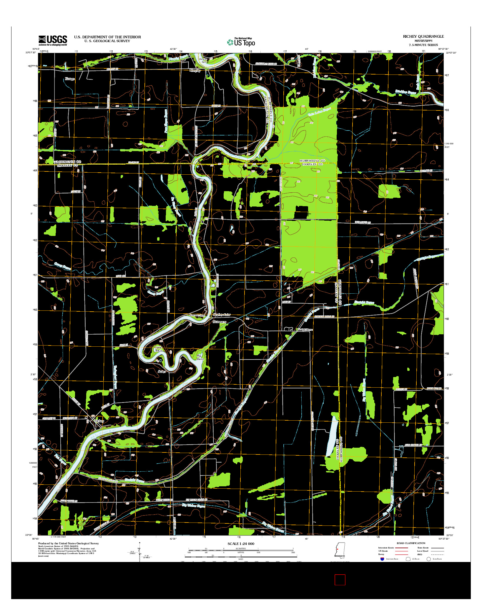 USGS US TOPO 7.5-MINUTE MAP FOR RICHEY, MS 2012