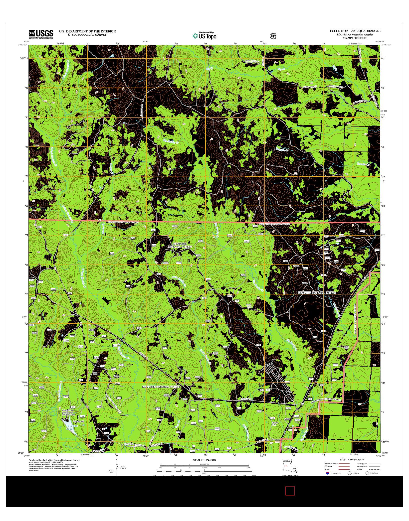 USGS US TOPO 7.5-MINUTE MAP FOR FULLERTON LAKE, LA 2012
