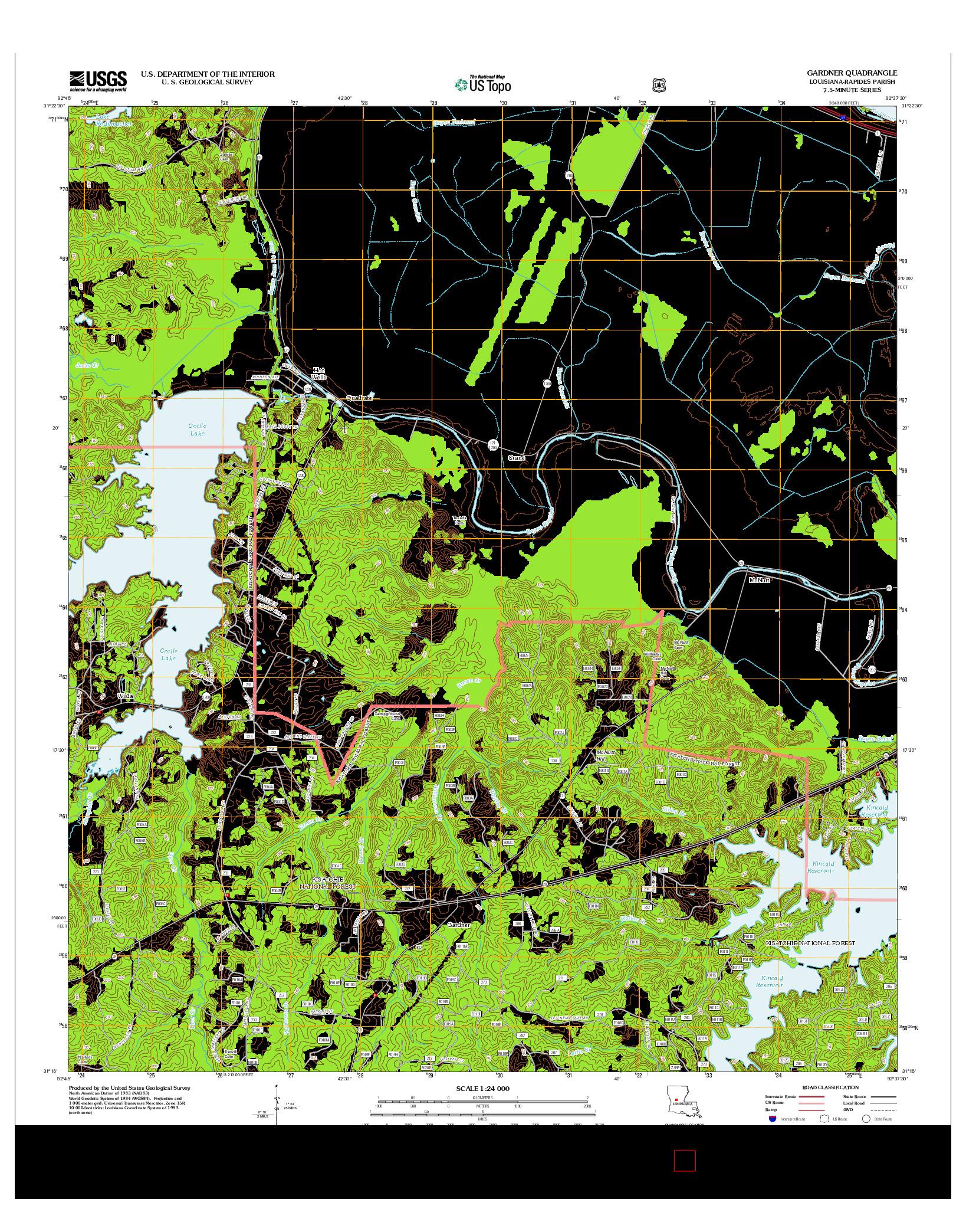 USGS US TOPO 7.5-MINUTE MAP FOR GARDNER, LA 2012