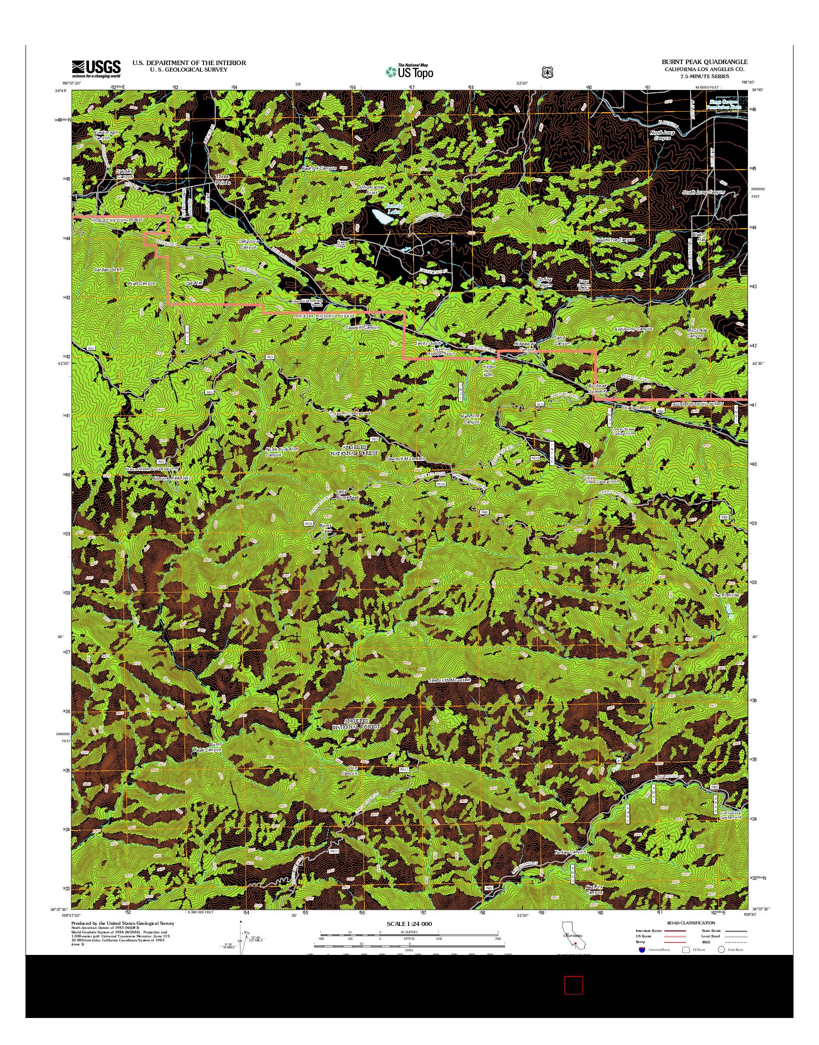 USGS US TOPO 7.5-MINUTE MAP FOR BURNT PEAK, CA 2012