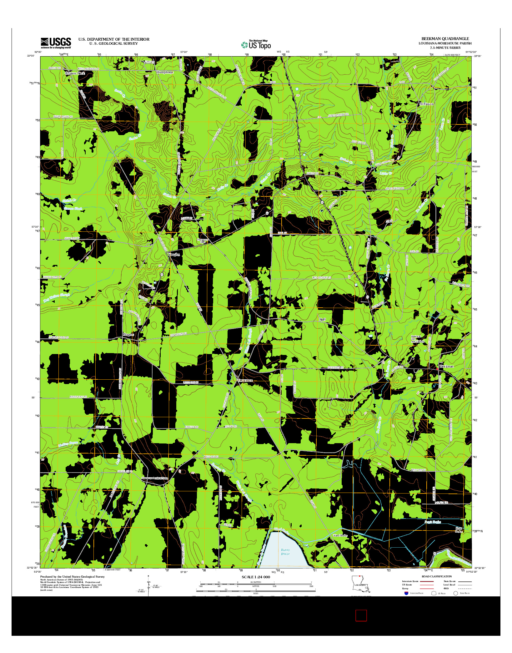 USGS US TOPO 7.5-MINUTE MAP FOR BEEKMAN, LA 2012