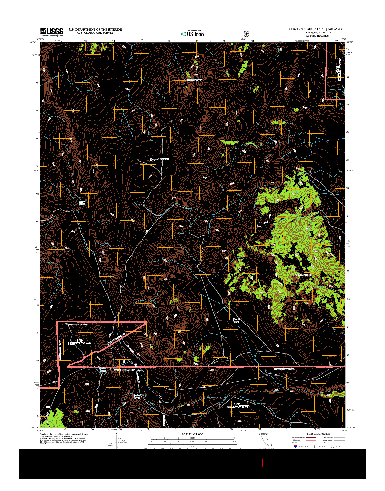USGS US TOPO 7.5-MINUTE MAP FOR COWTRACK MOUNTAIN, CA 2012