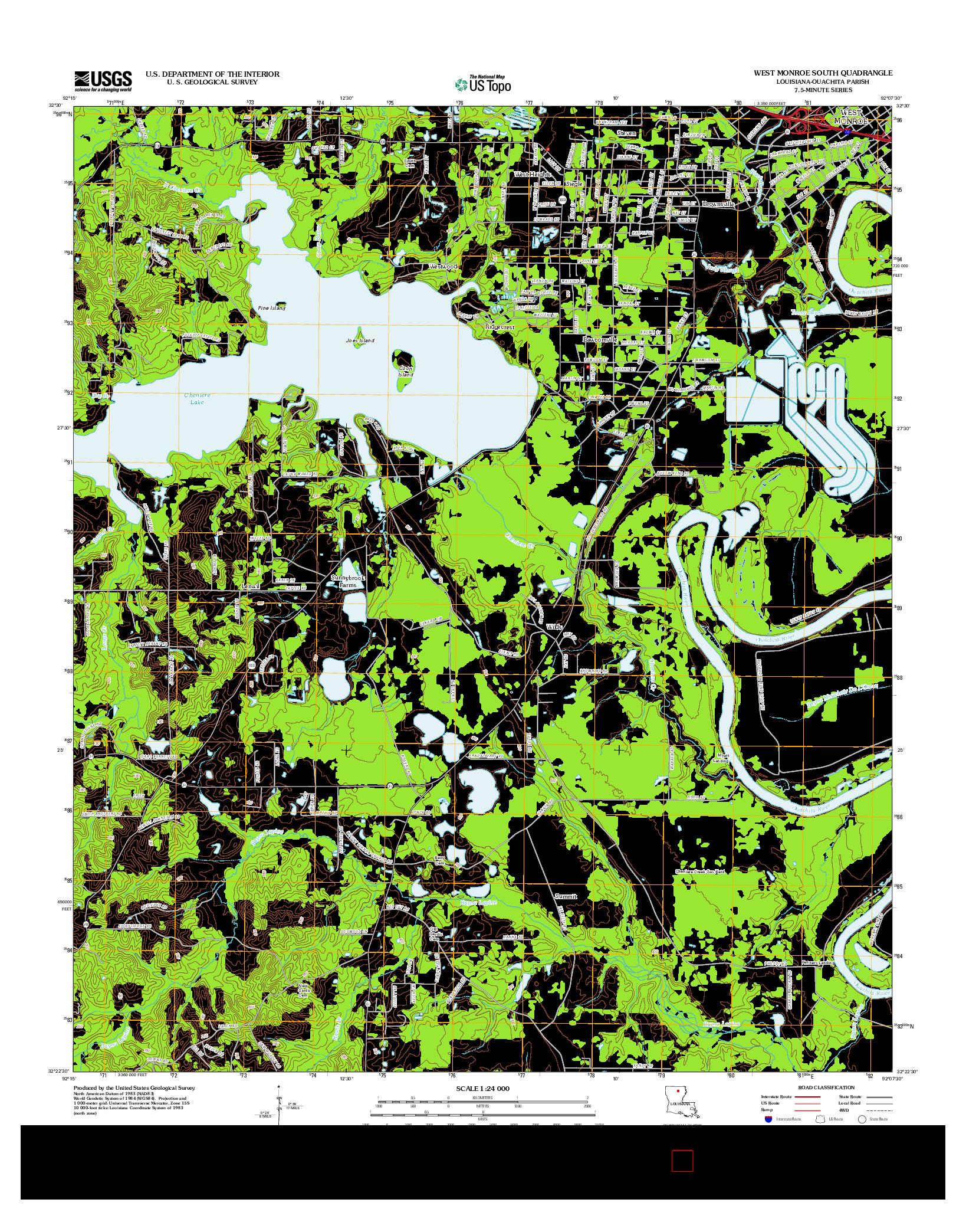 USGS US TOPO 7.5-MINUTE MAP FOR WEST MONROE SOUTH, LA 2012
