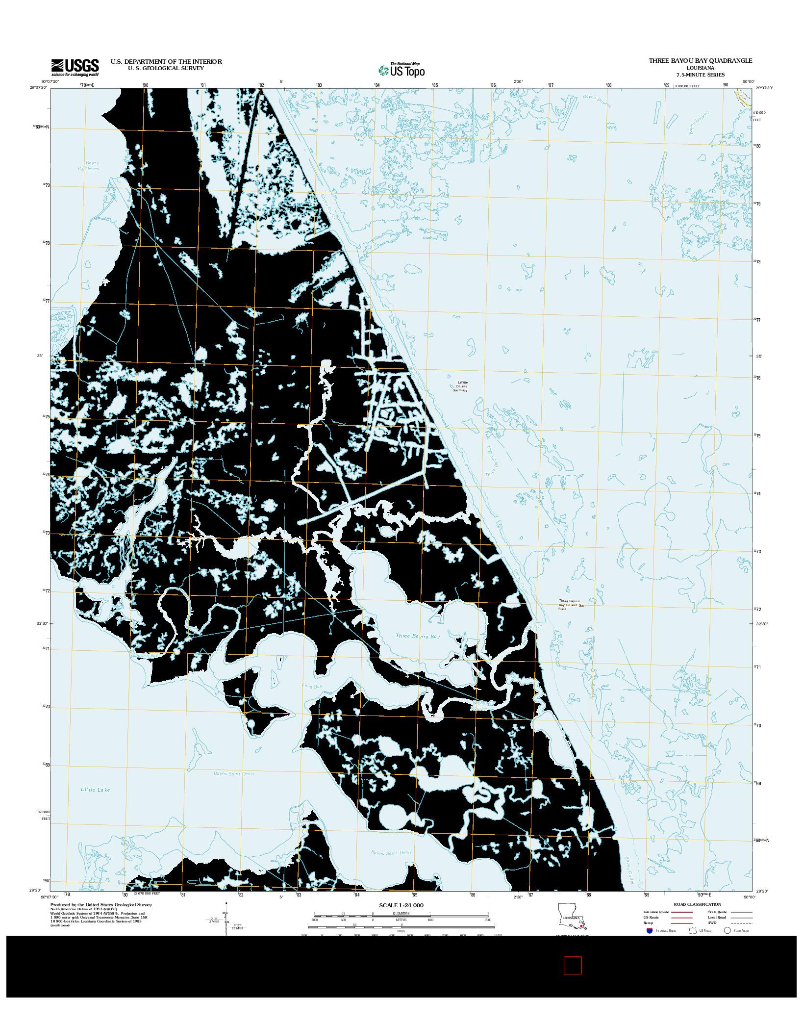 USGS US TOPO 7.5-MINUTE MAP FOR THREE BAYOU BAY, LA 2012